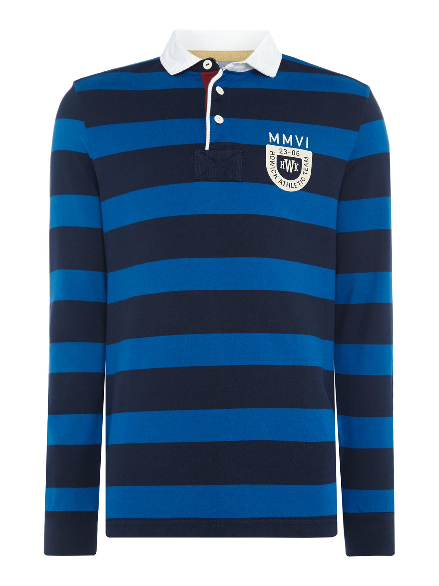 8c92b026a91 Men's Howick Montgomery Stripe Long Sleeve Rugby Shirt, Blue