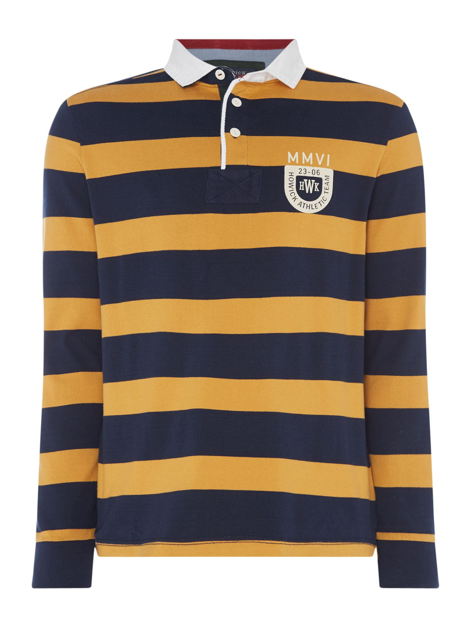 Men's Howick Montgomery Stripe Long Sleeve Rugby Shirt, Gold