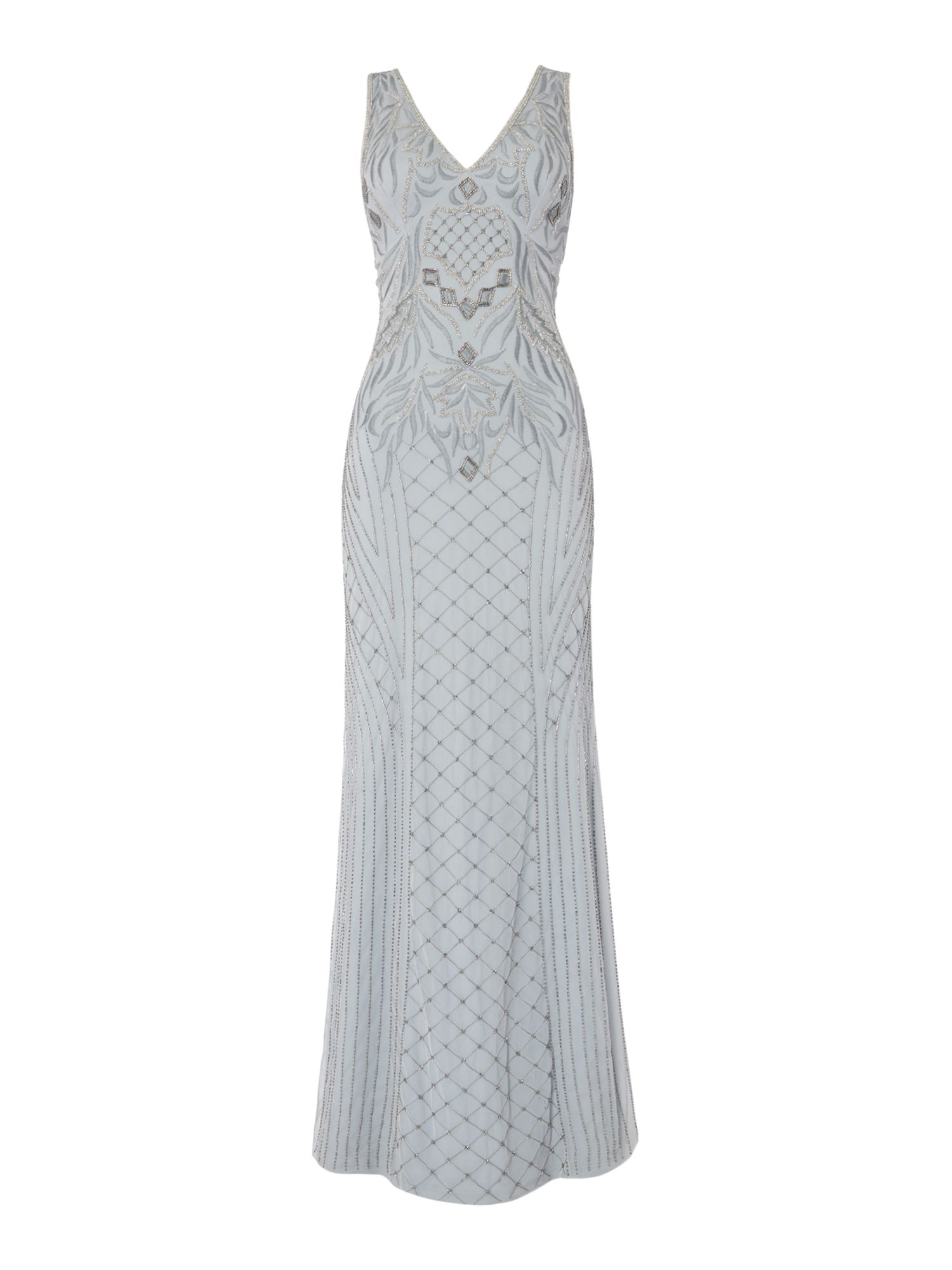 Frock and Frill V neck embellished maxi dress, Grey