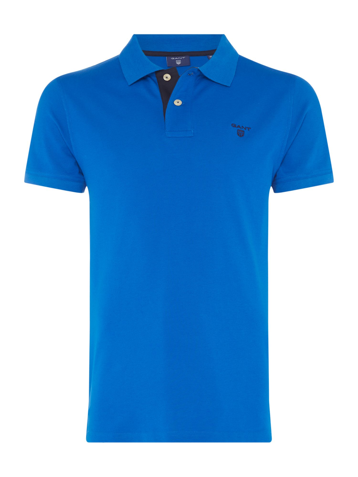 Men's Gant Contrast Collar Polo Shirt, Vivid Blue