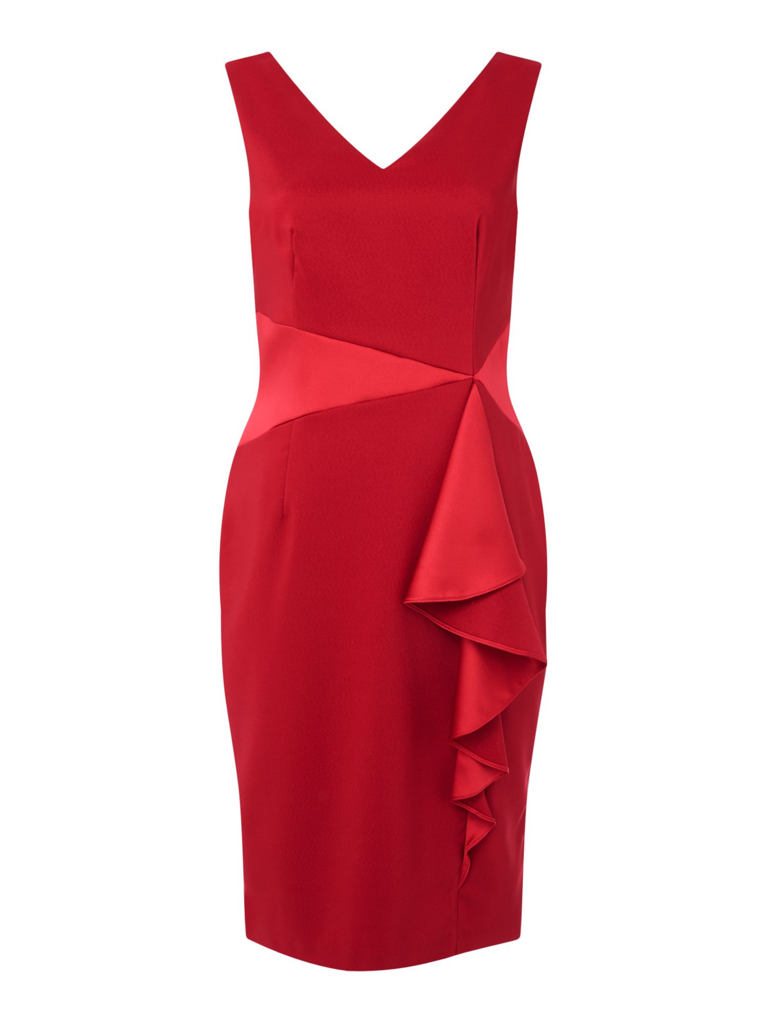 Ariella Satin ruffle panel bodycon dress, Red