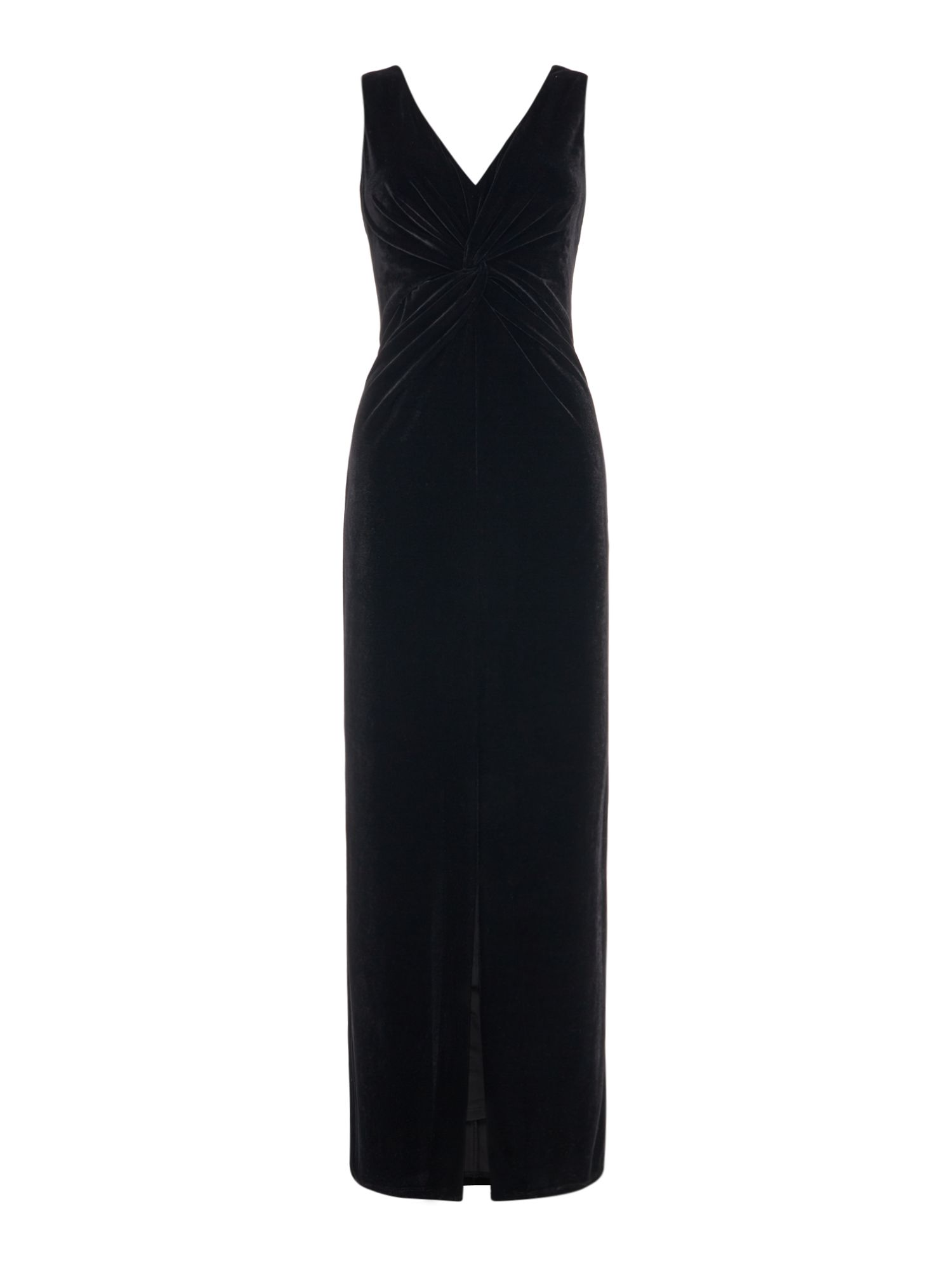 Ariella Strappy velvet front maxi dress, Black