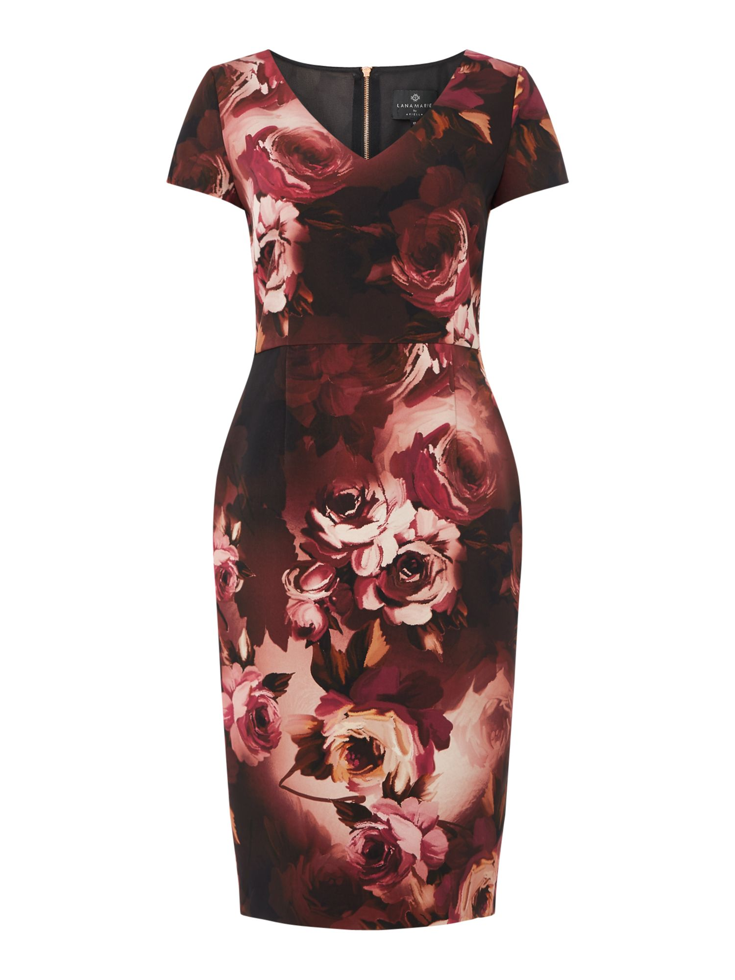 Ariella Full printed midi bodycon, Plum