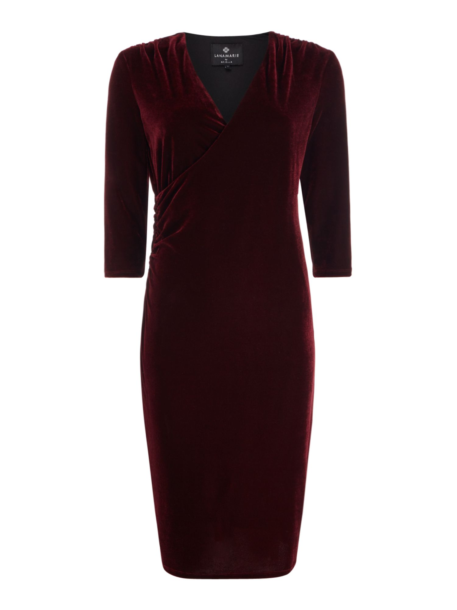 Ariella Velvet wrap midi dress, Wine