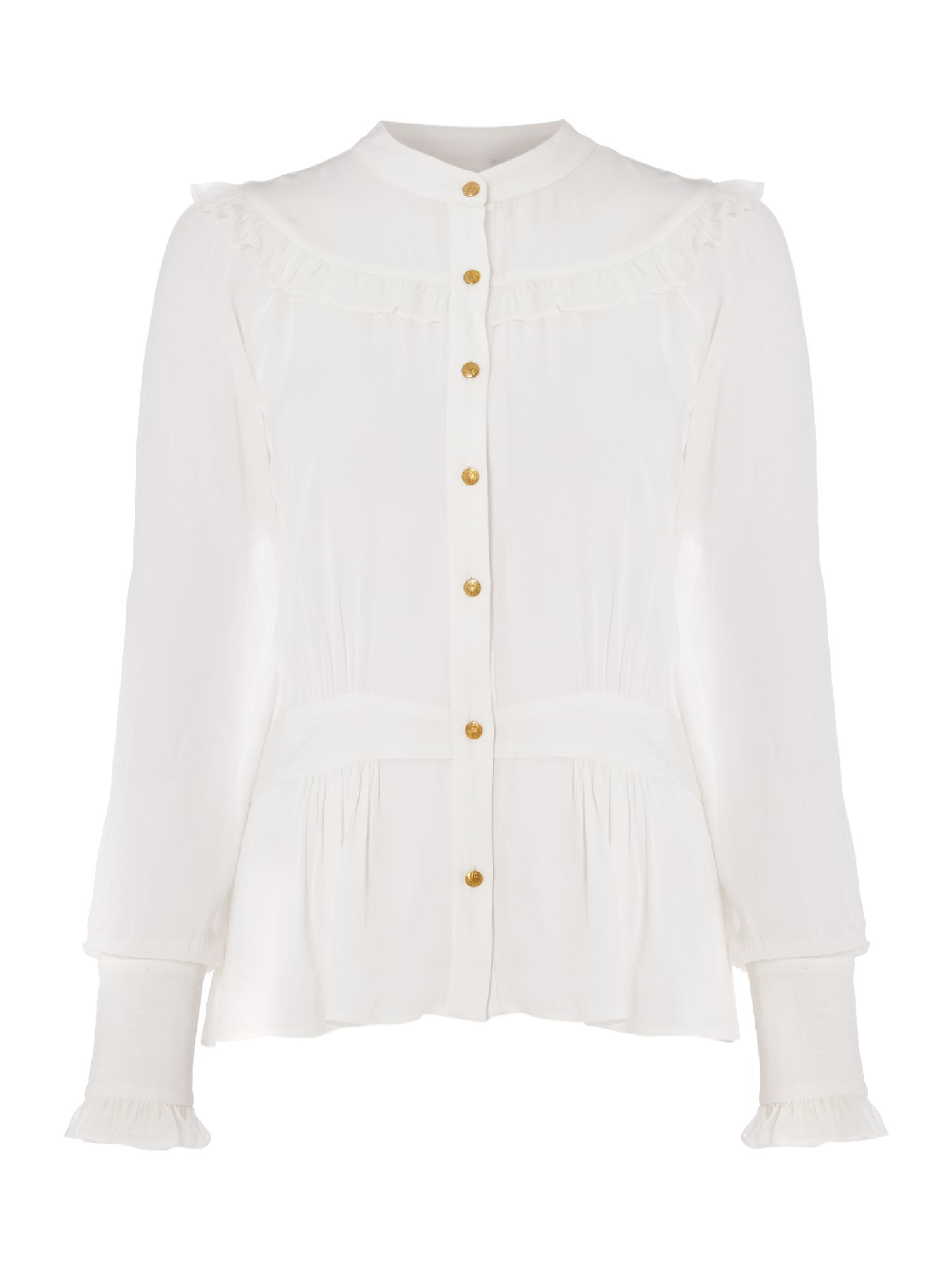 Biba Tie waist button through blouse, Milk