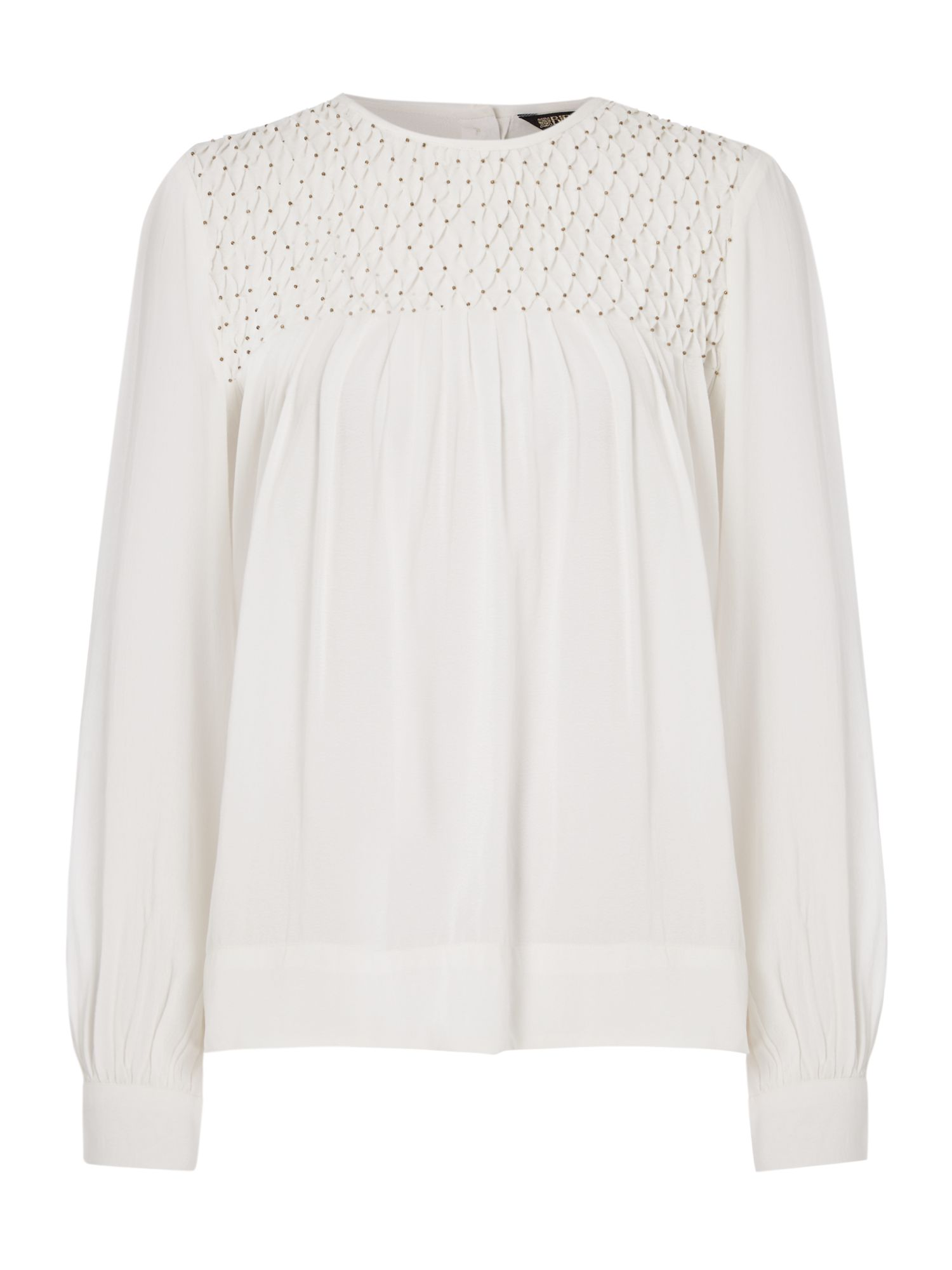 Biba Beaded honeycomb blouse, Milk
