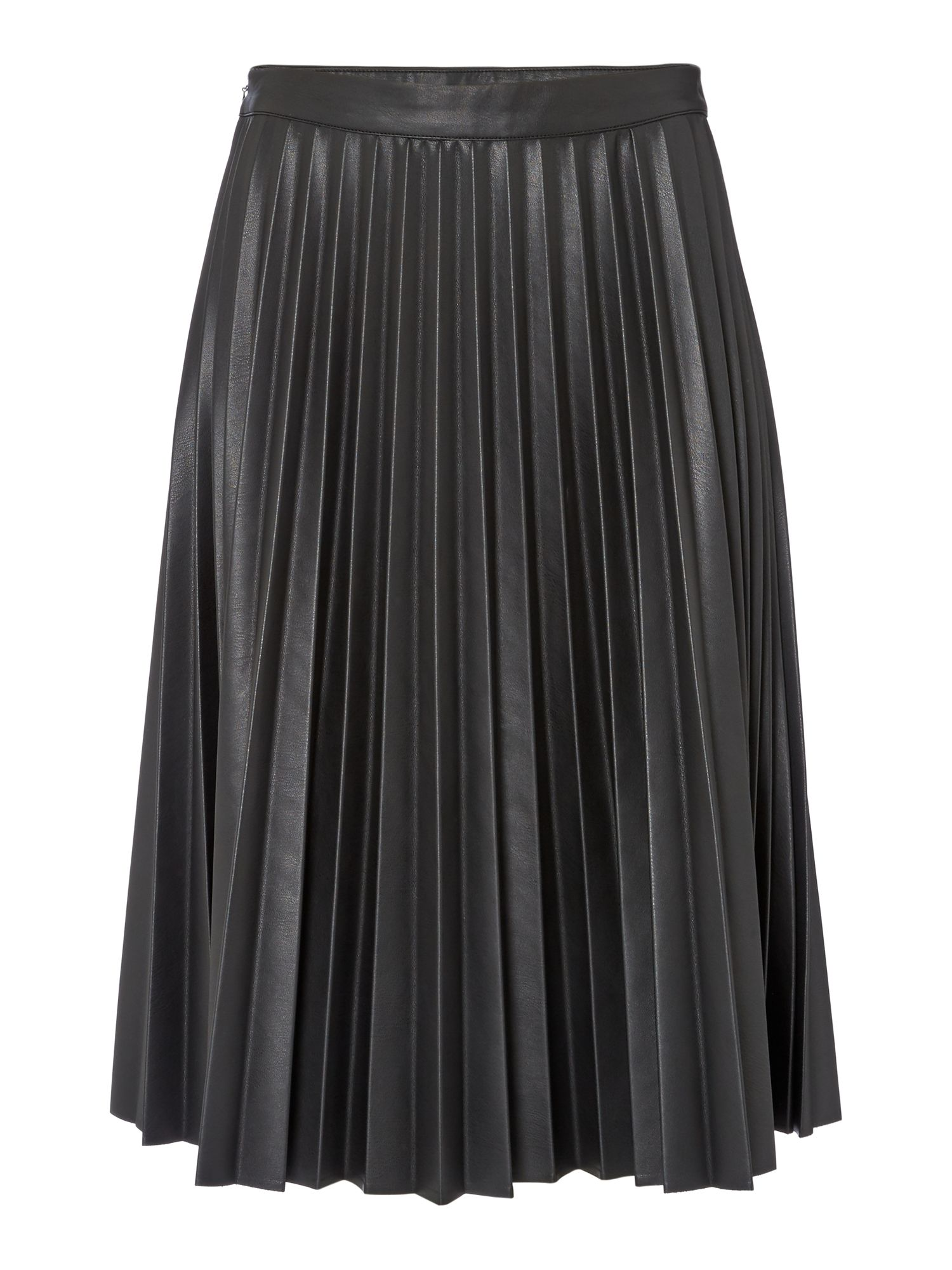 Biba Pleated PU Midi Skirt, Black