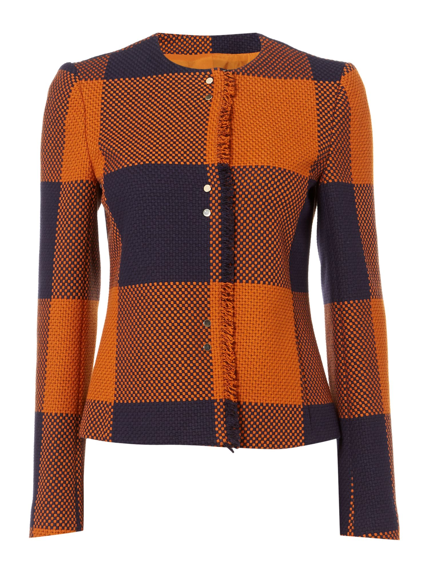 Hugo Boss Karolie Check Long Sleeve Jacket, Rust