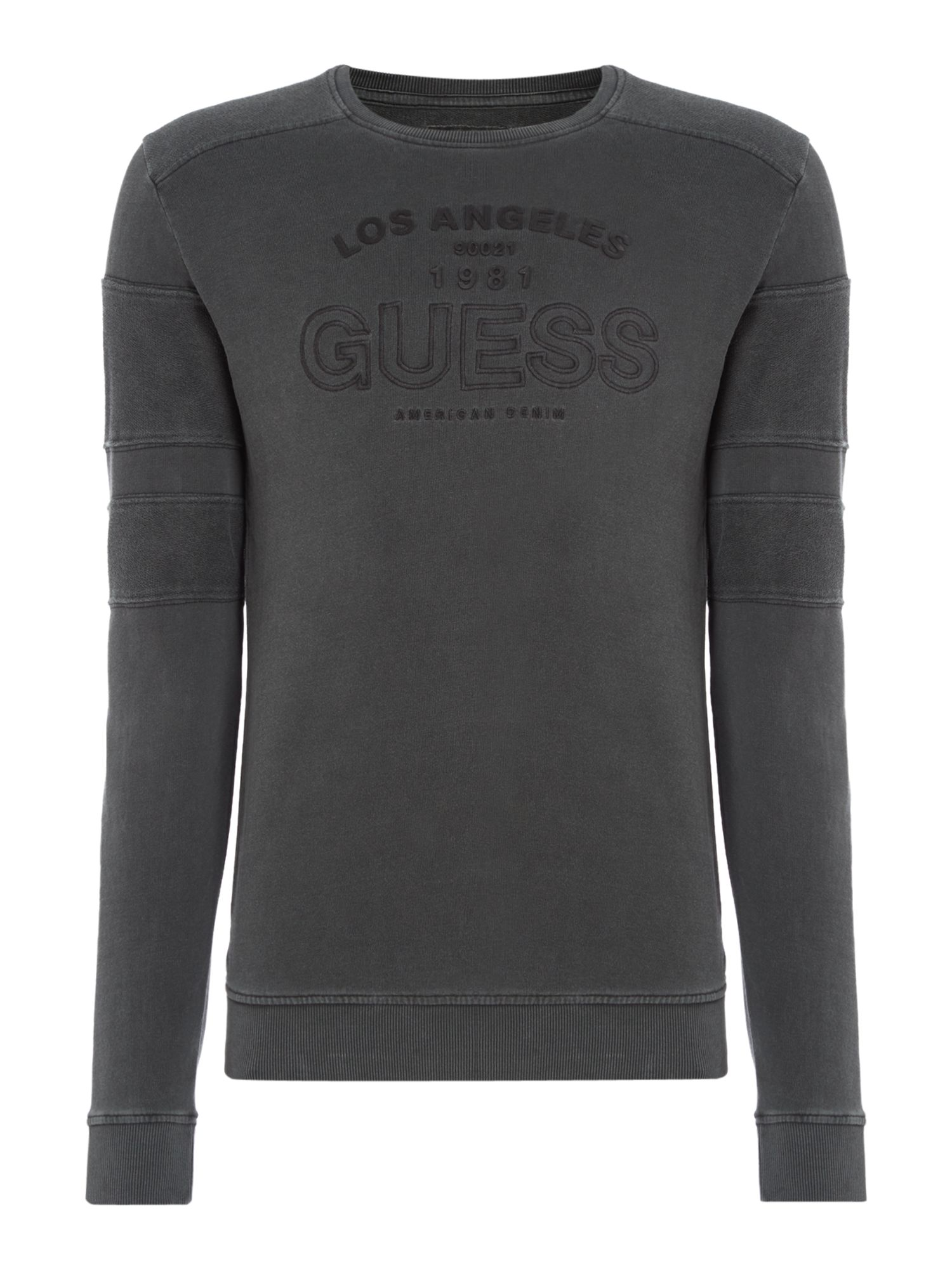 Men's Guess Panelled Logo Crew Neck Sweatshirt, Washed Black