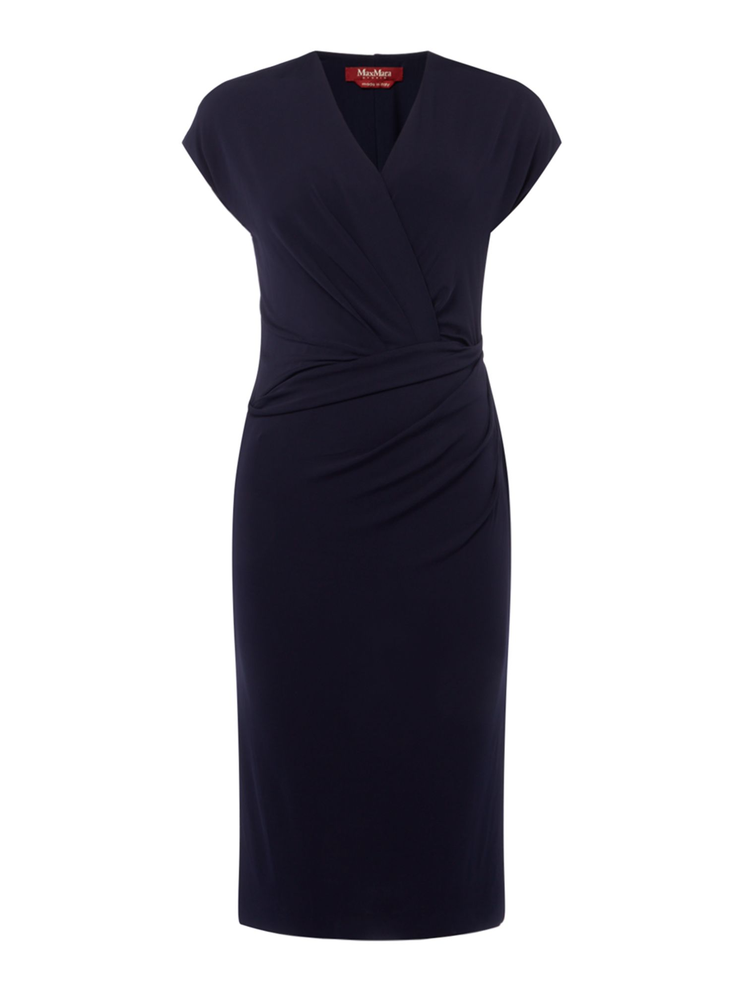 Max Mara Studio Marte sleeveless wrap dress with ruched detail, Blue