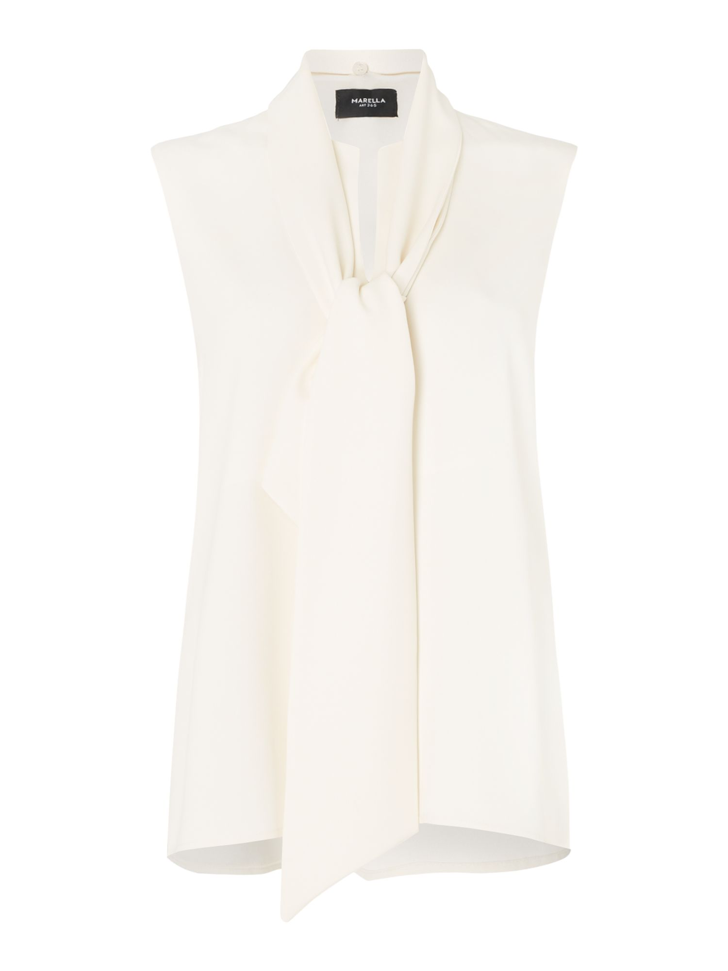 Marella Snodo tie neck sleeveless top, White