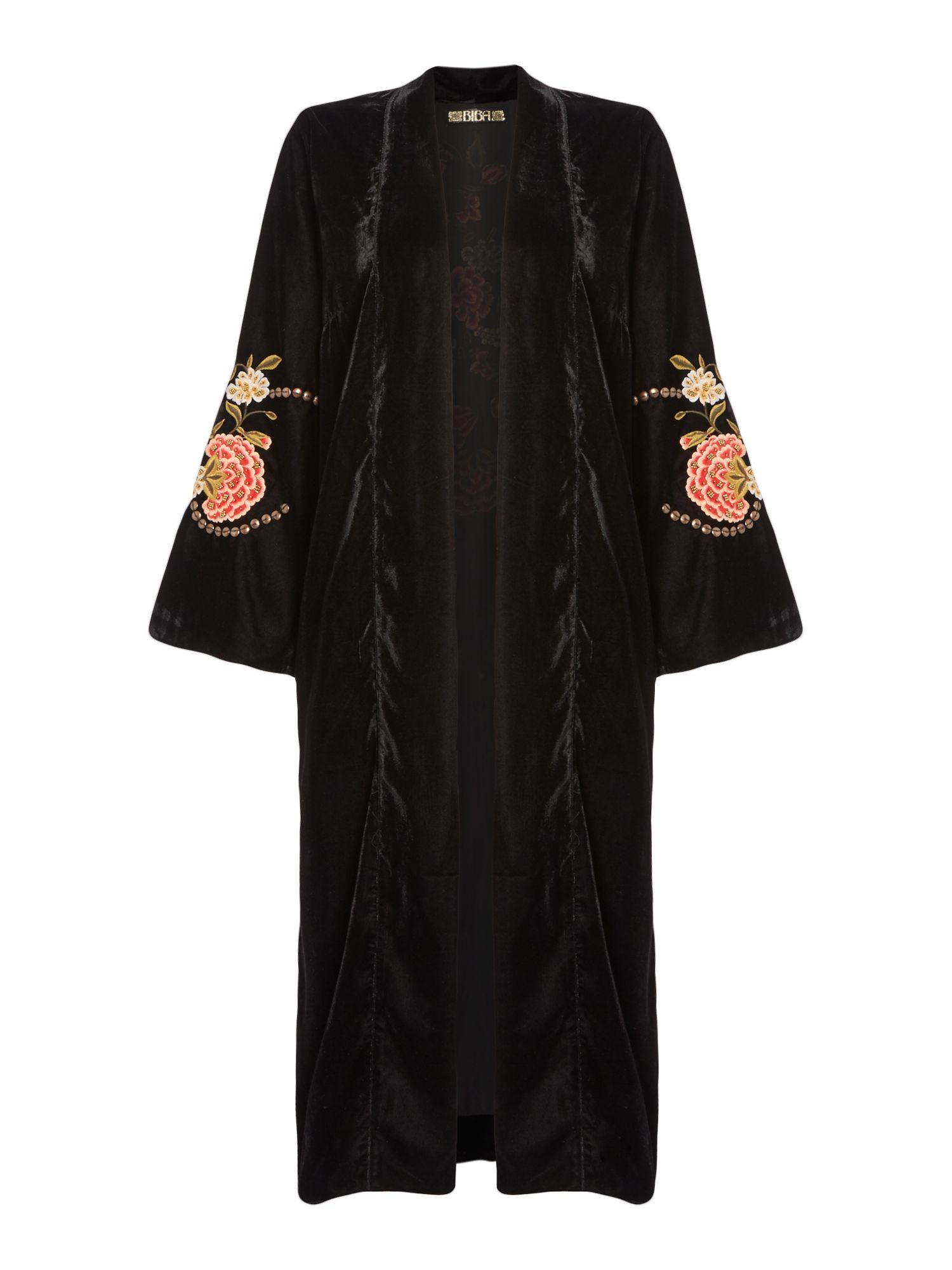 Biba Velvet longline embroidered jacket, Black