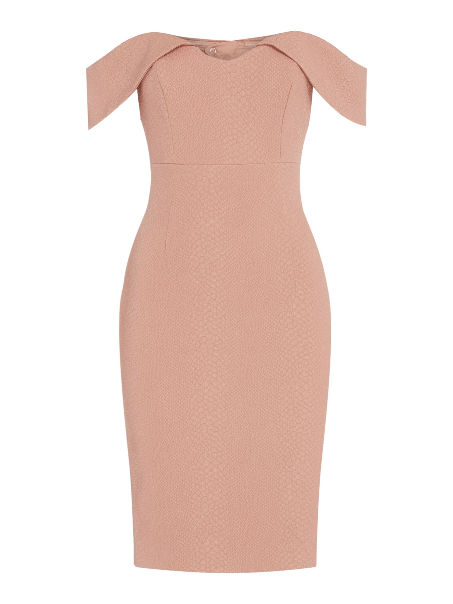 Bardot Off shoulder midi fitted dress, Pink