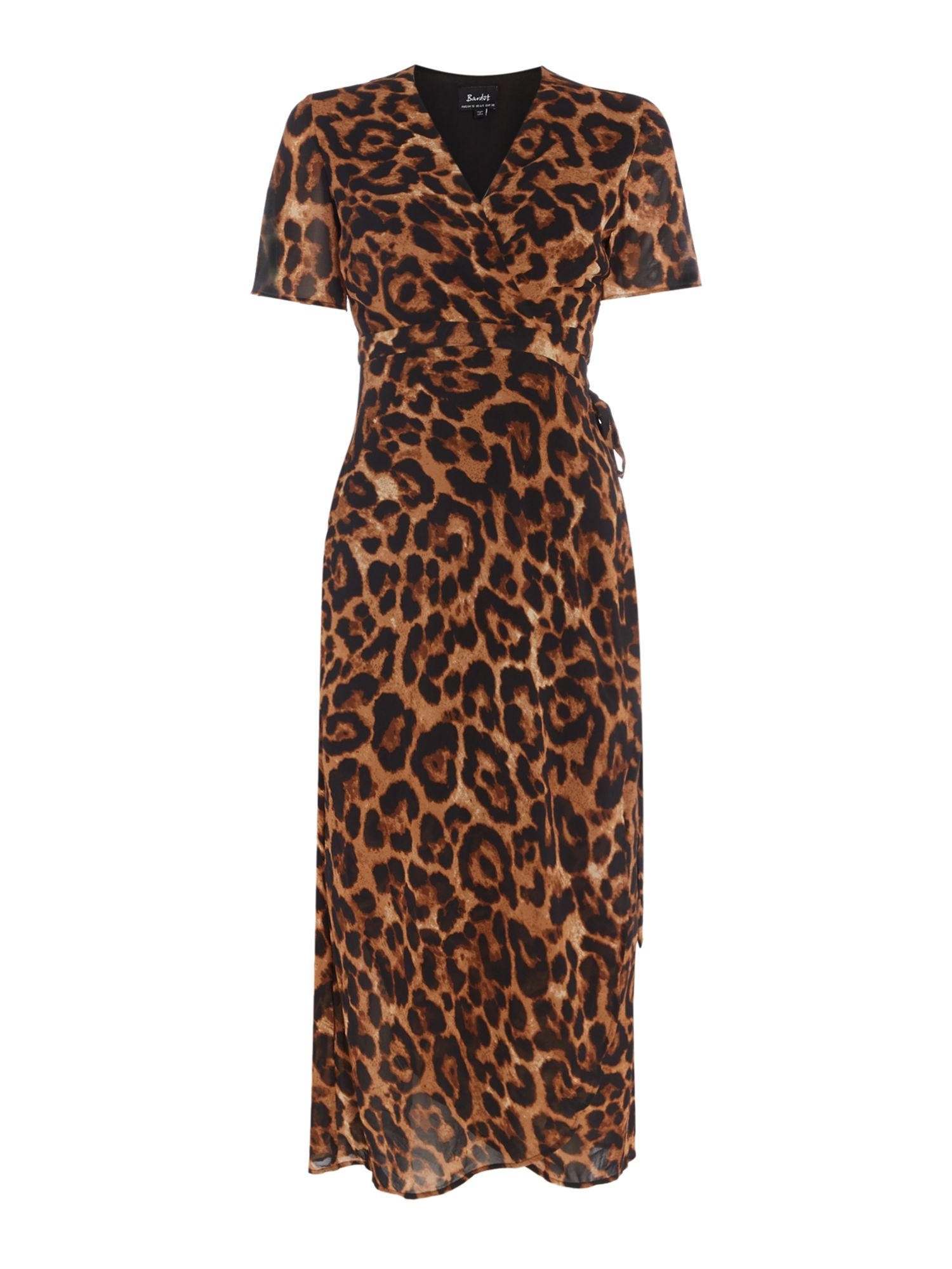 Bardot Short sleeves v neck wrap dress leopard print, Leopard Print