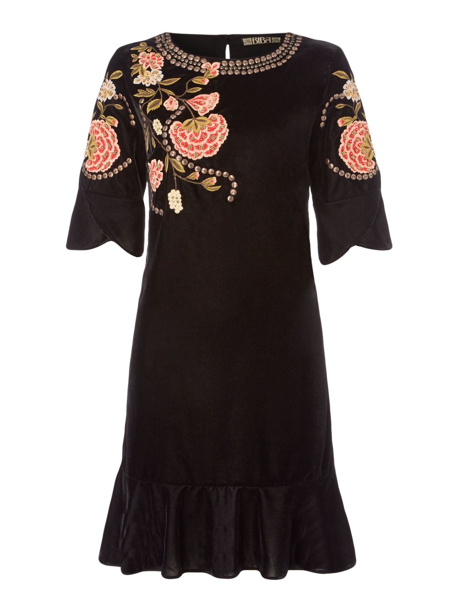 Biba Velvet embroidered and beaded dress, Black