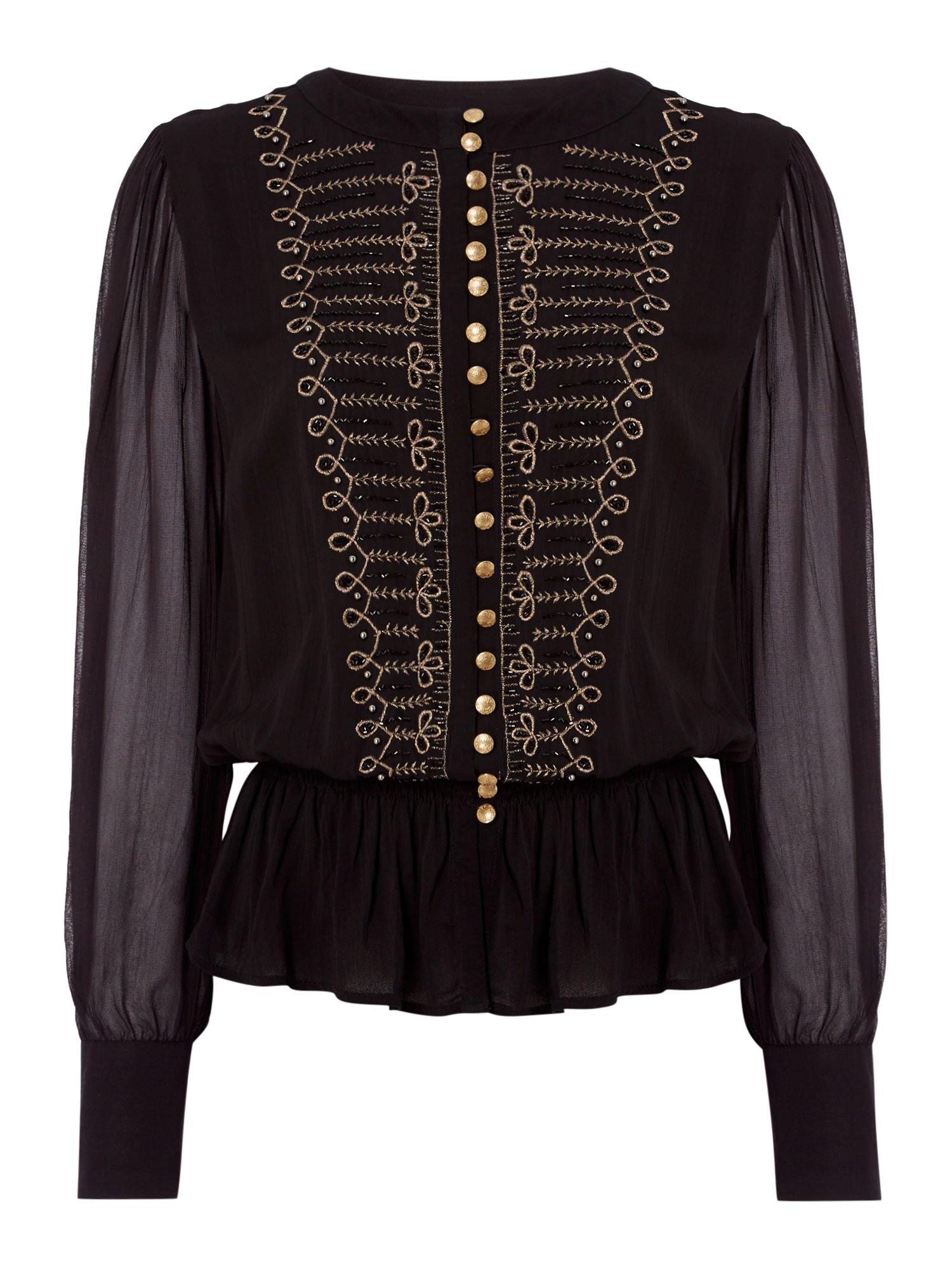 Biba Embellished drummer boy blouse, Black