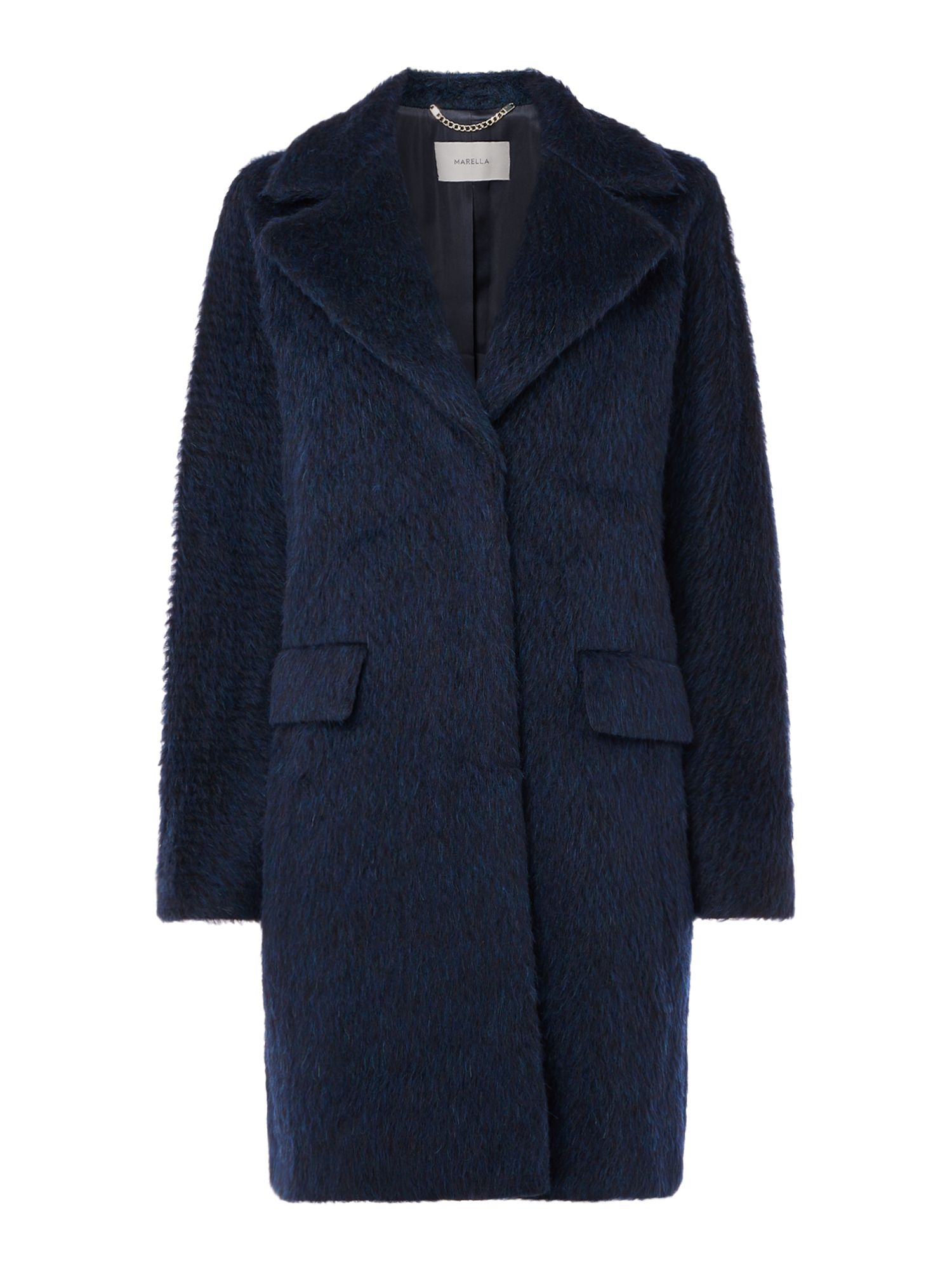 Marella Eterno shaggy two tone coat, Blue