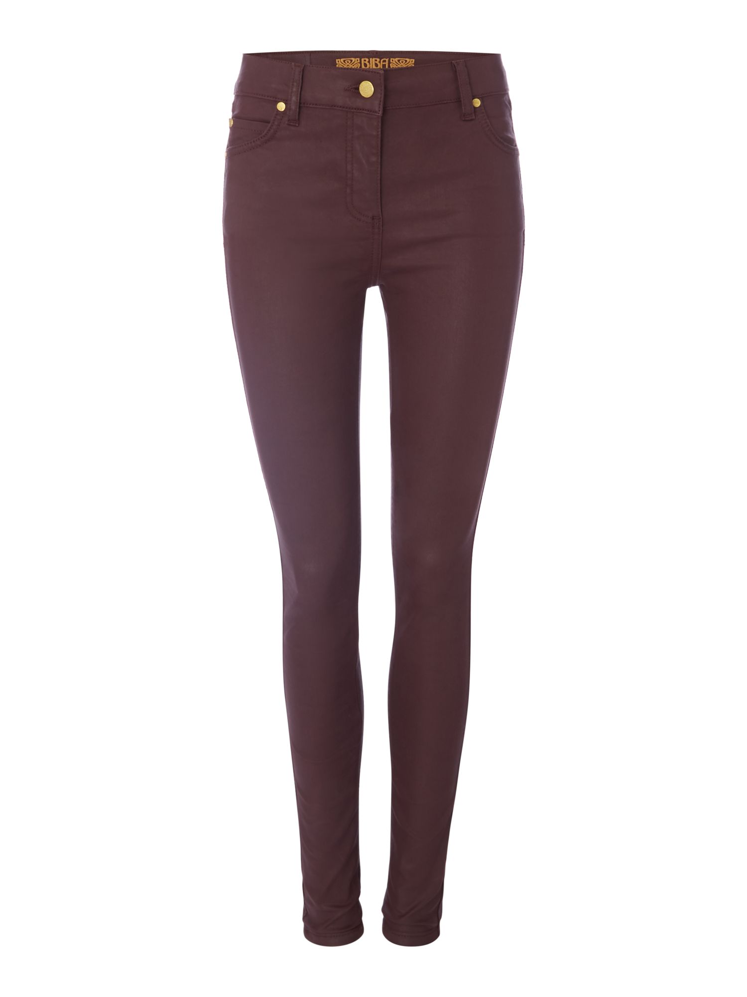 Biba Coated skinny stevie jeans, Berry
