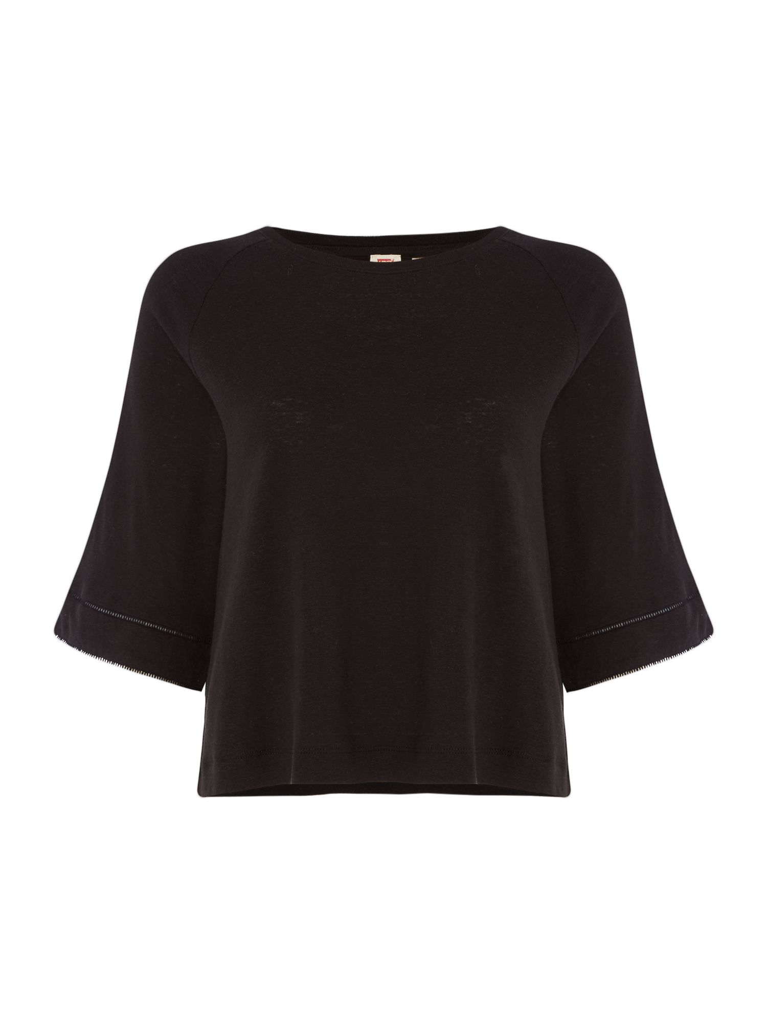 Levi's Raglan T-shirt With Eyelet Detail In Jet Black, Black