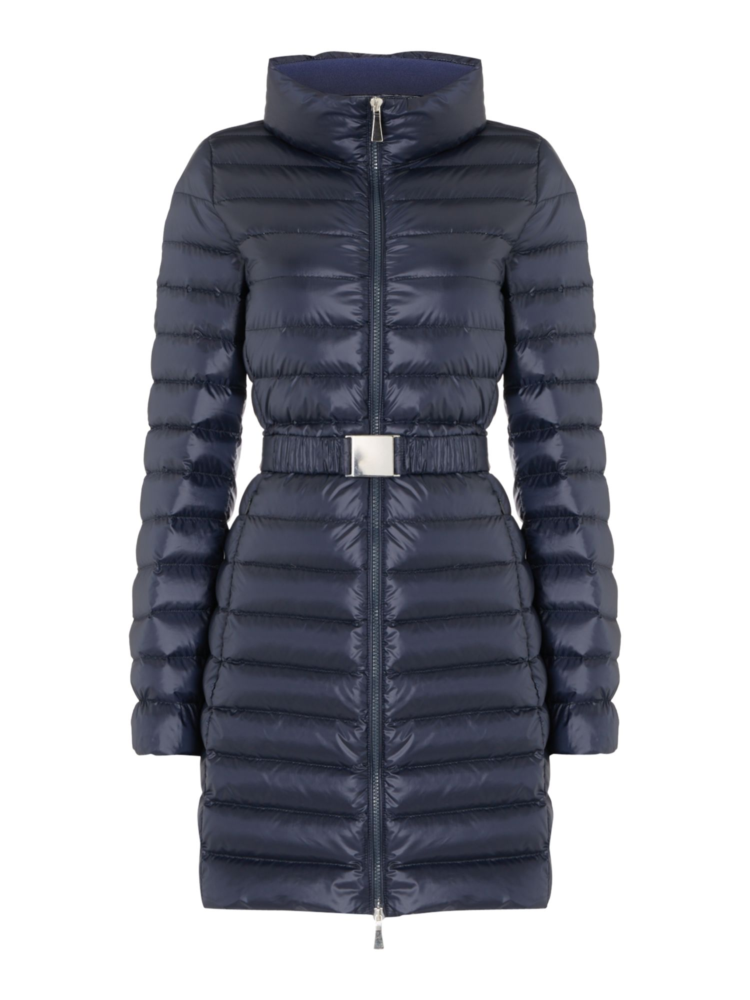 Marella Etoile quilted belted long coat, Blue