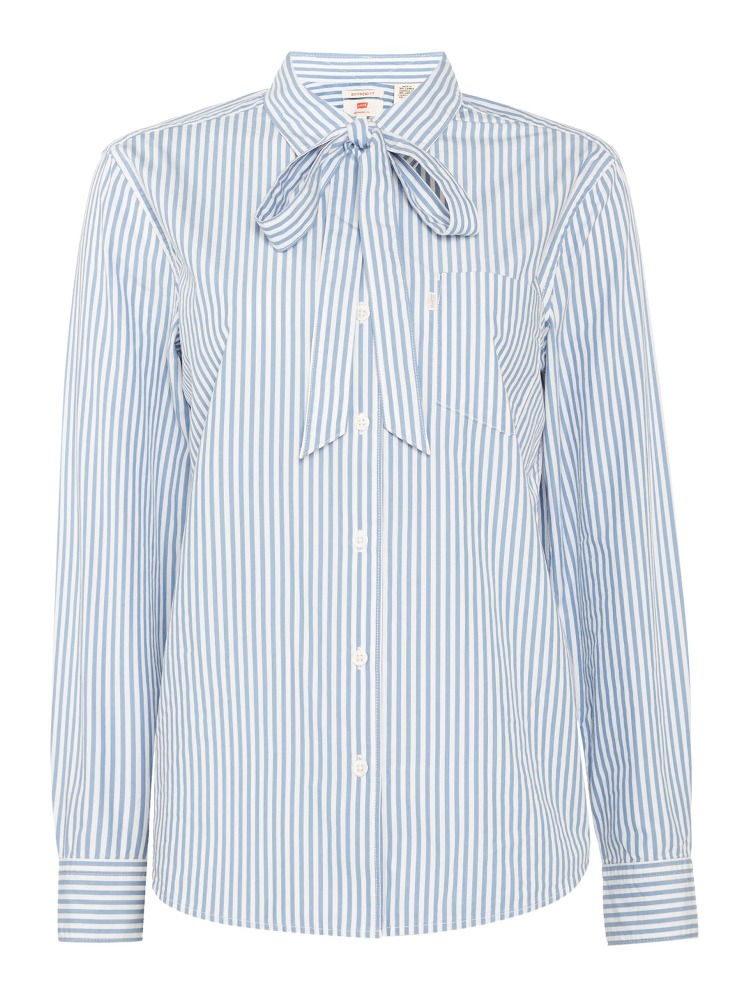 Levi's Sidney Tie Neck Shirt In Basswood quiet Harbour, Pale Blue