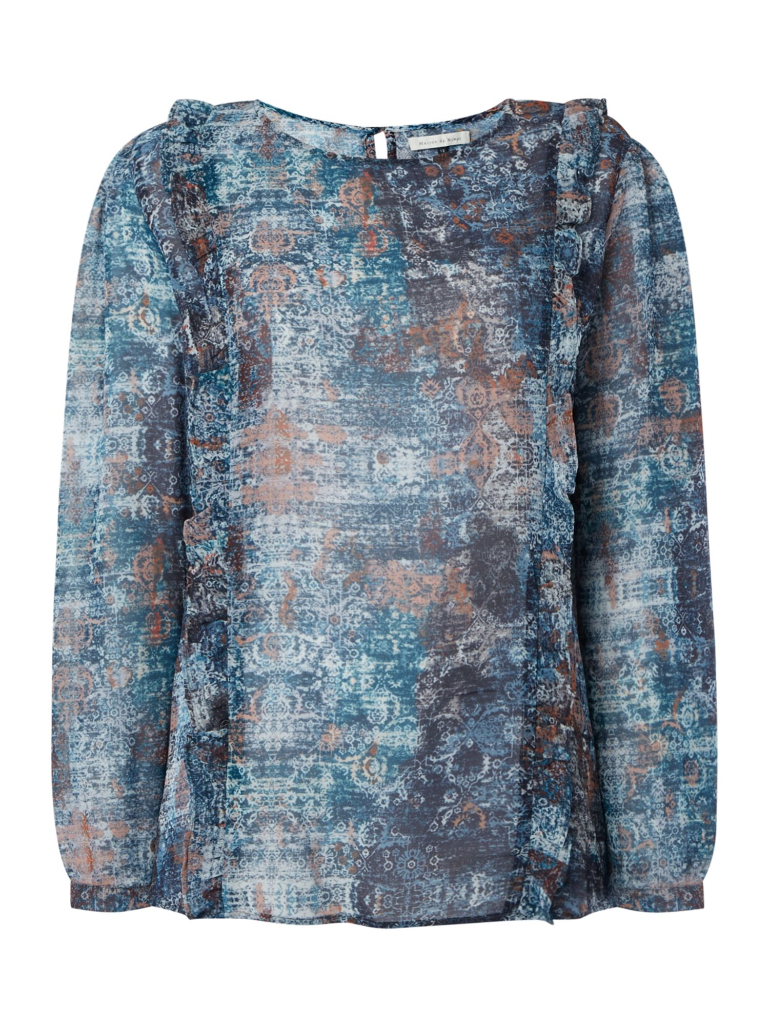Maison De Nimes Wild Ranch Tapestry Print Blouse, Multi-Coloured