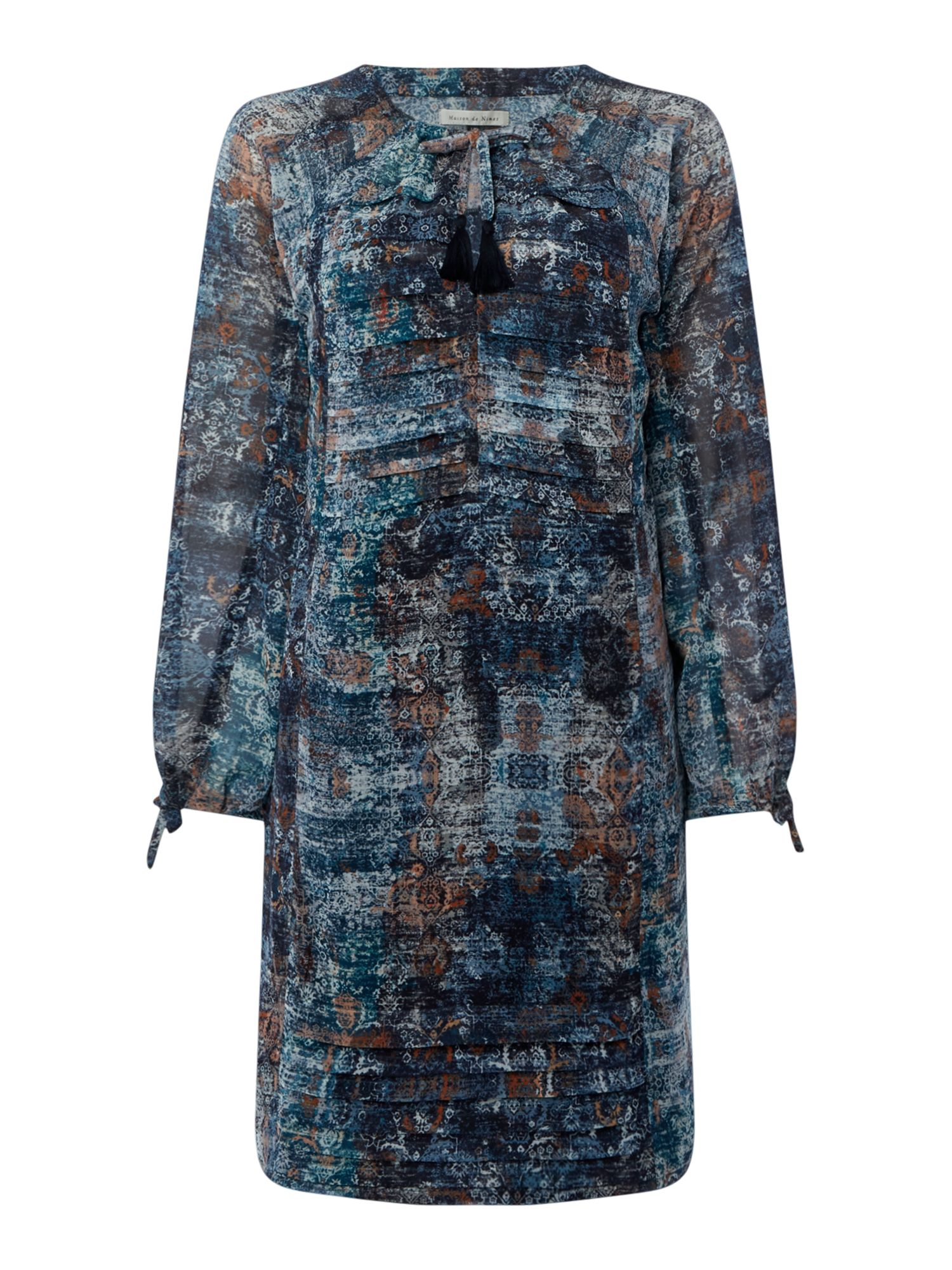 Maison De Nimes Wild Ranch Tapestry Print Pleat Dress, Multi-Coloured