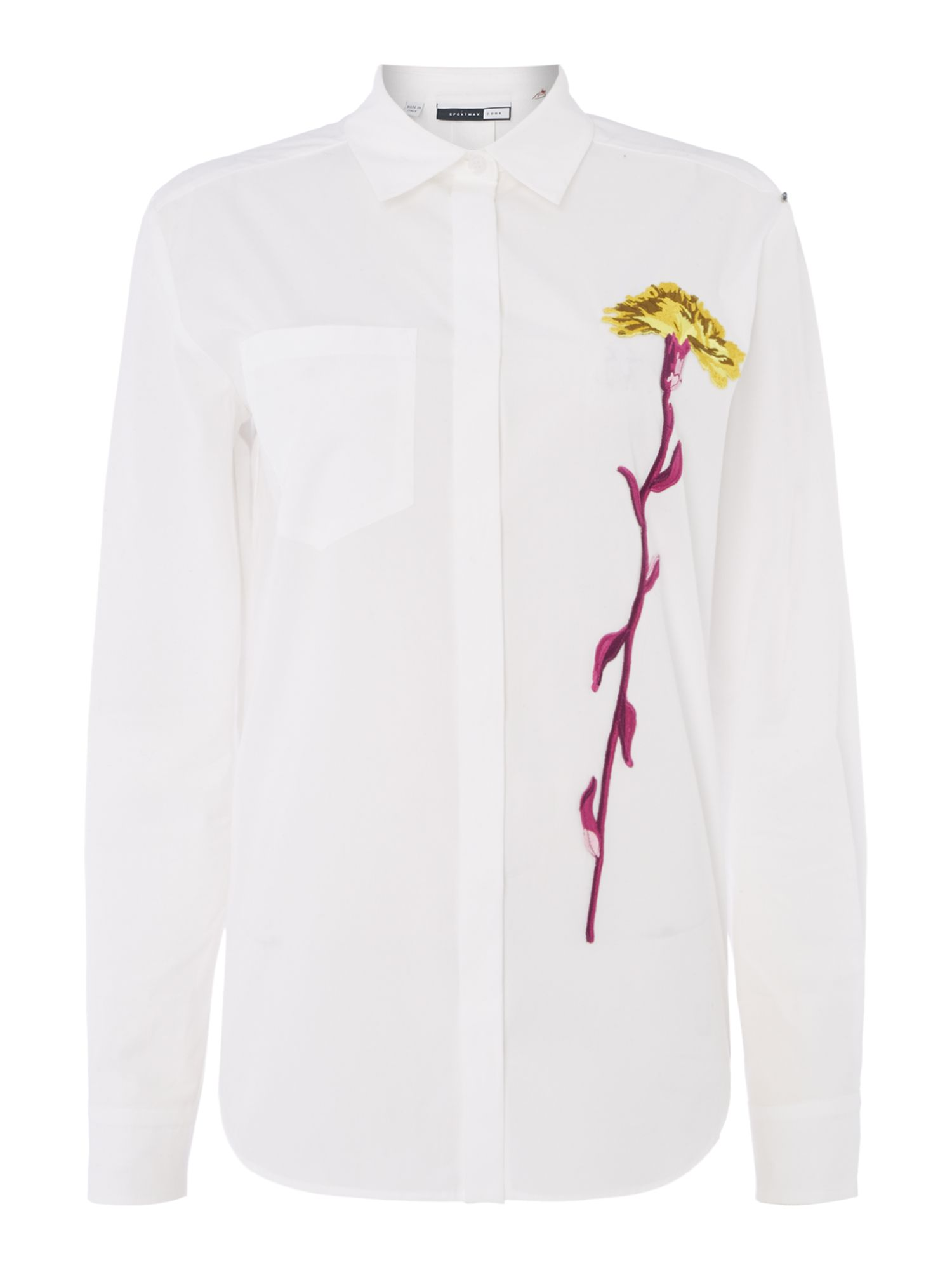 Sportmax Code Rete long sleeve shirt with embroidered flower, White
