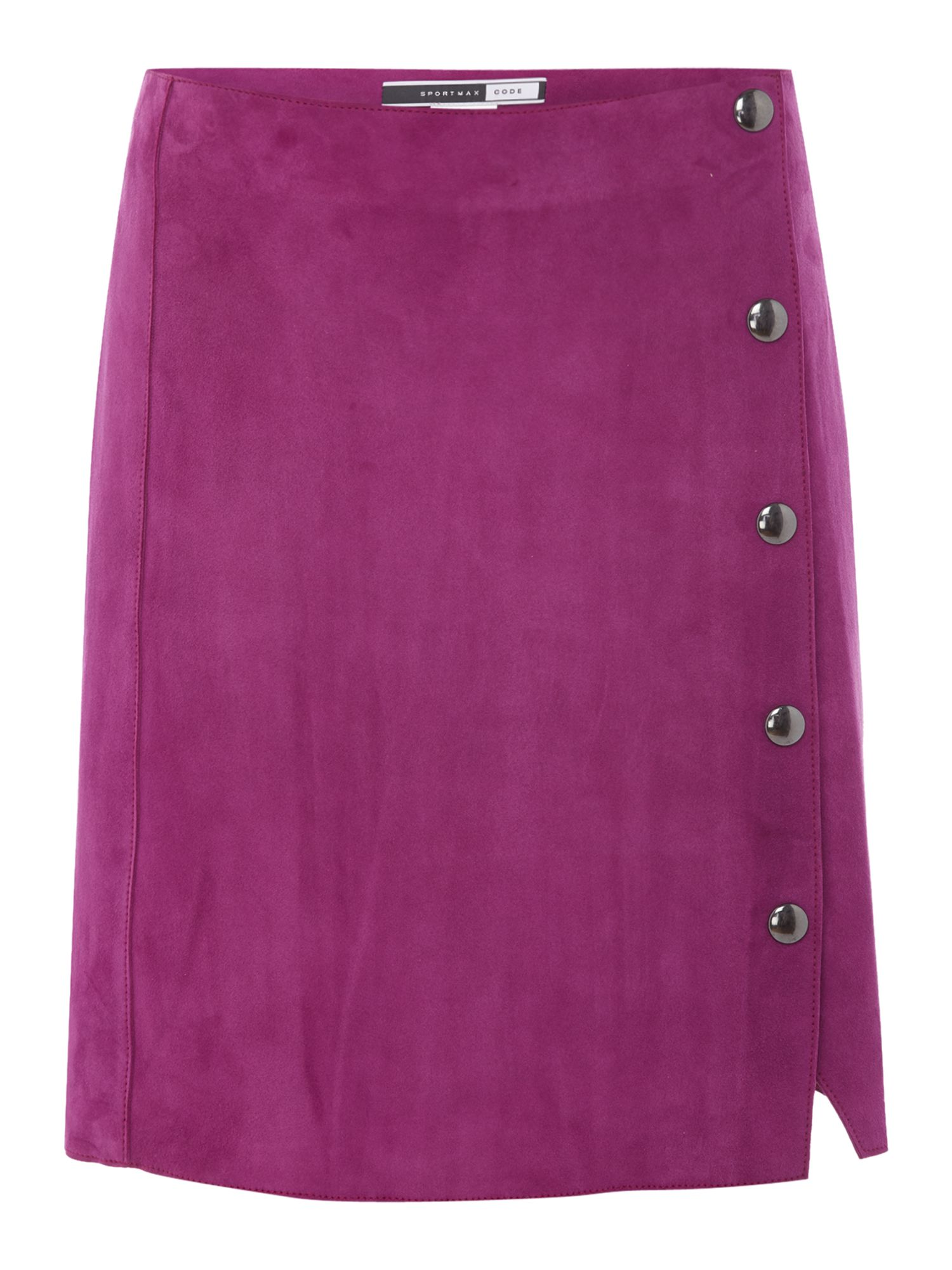Sportmax Code Fico button front suede skirt, Plum
