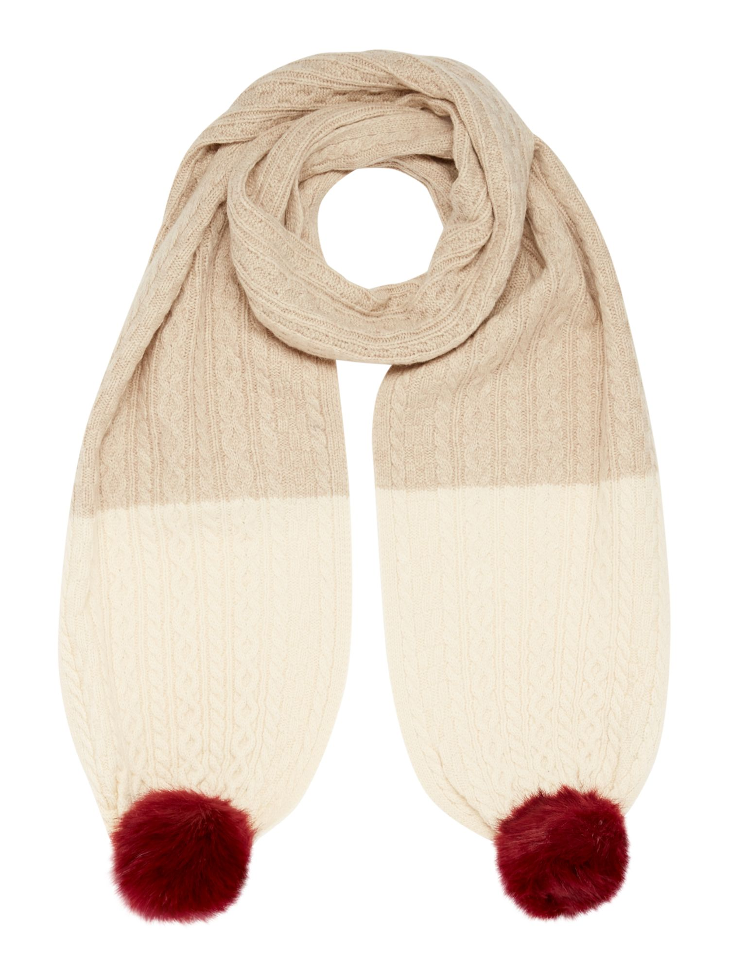 Dents Contrast knitted scarf, Oatmeal