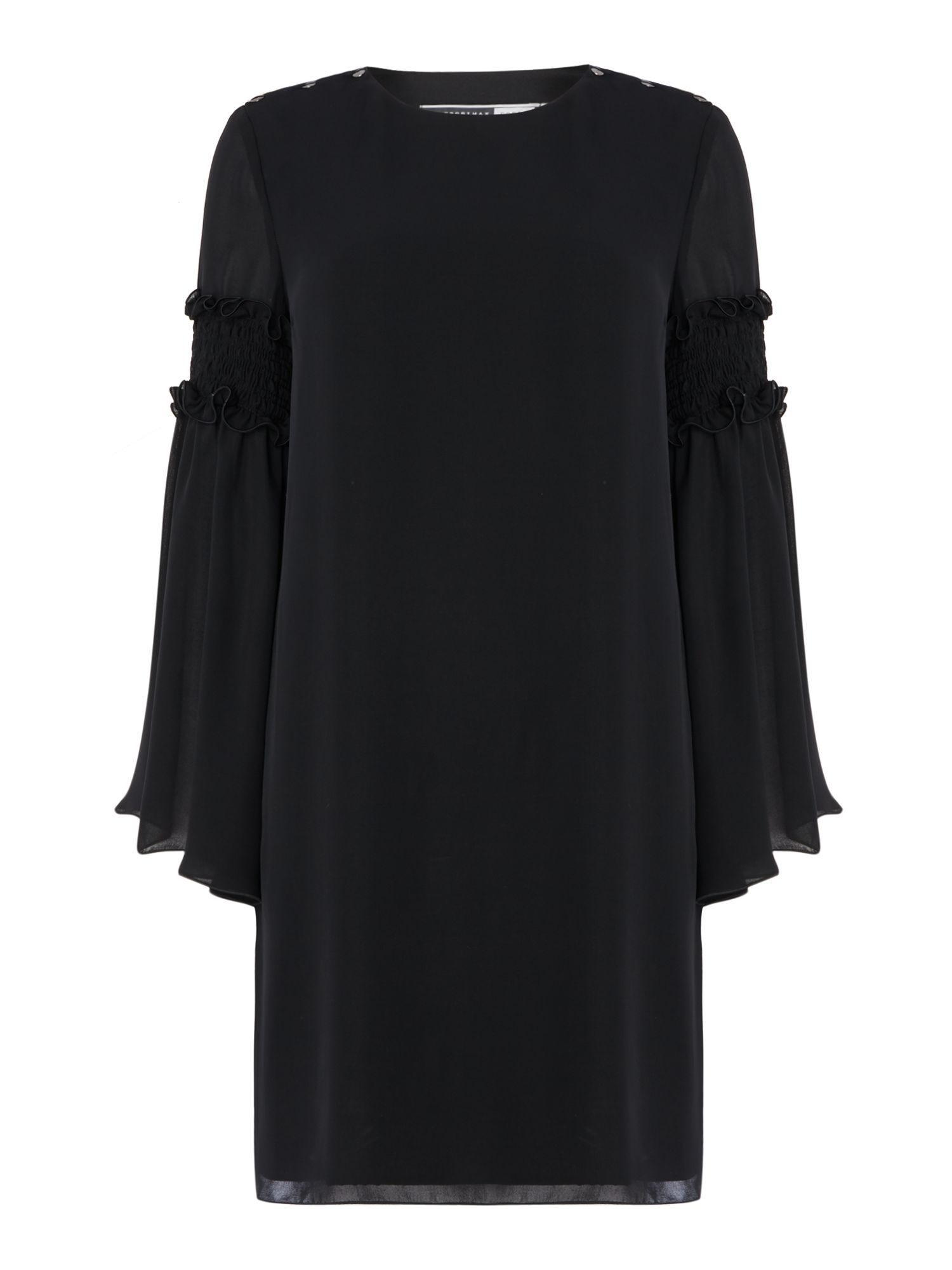 Sportmax Code Palermo dress with ruffle detail flared sleeve, Black