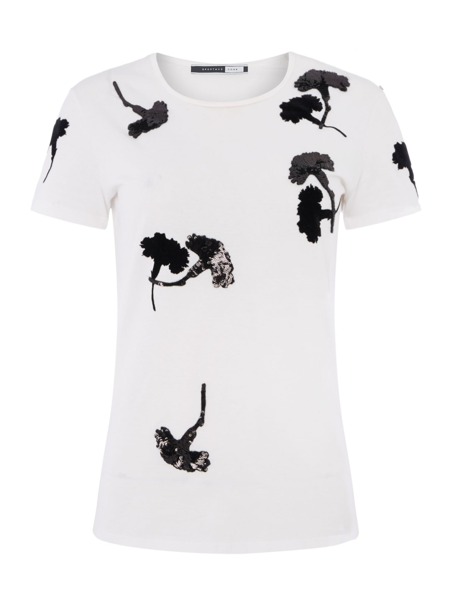 Sportmax Code Armanda embroidered floral t-shirt, Optical White