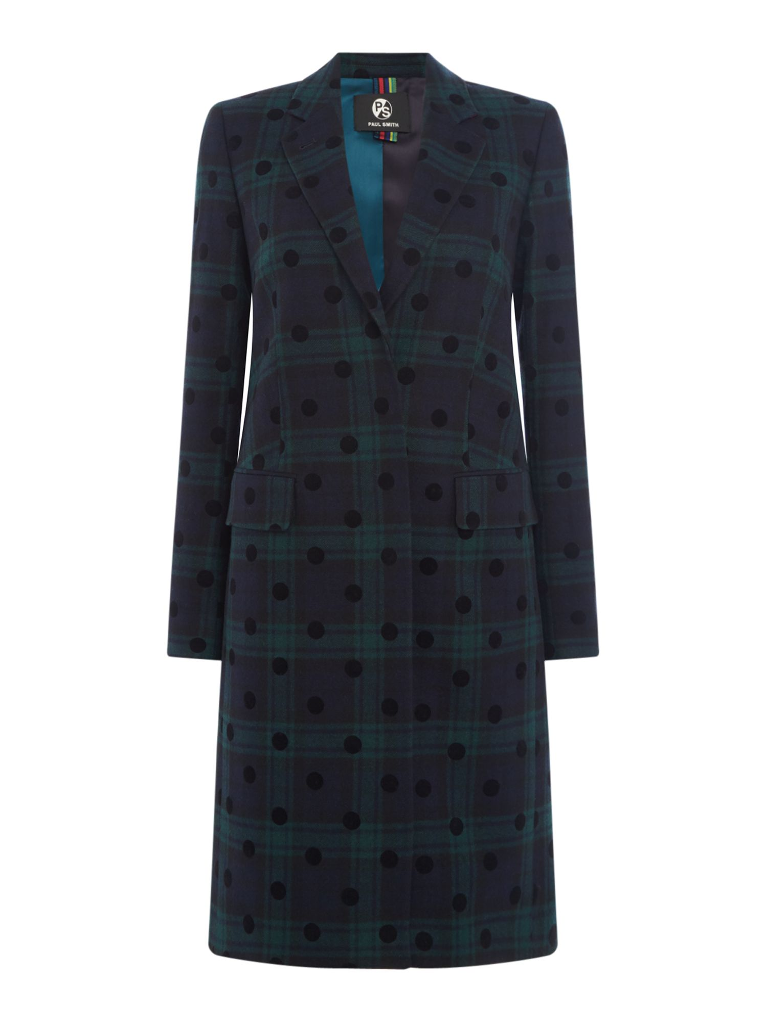 PS By Paul Smith Spot print epsom coat, Blue