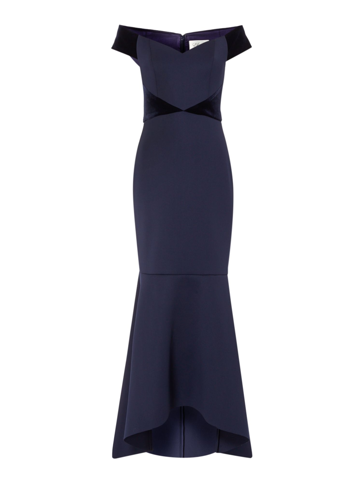 Eliza J Panelled velvet gown, Blue