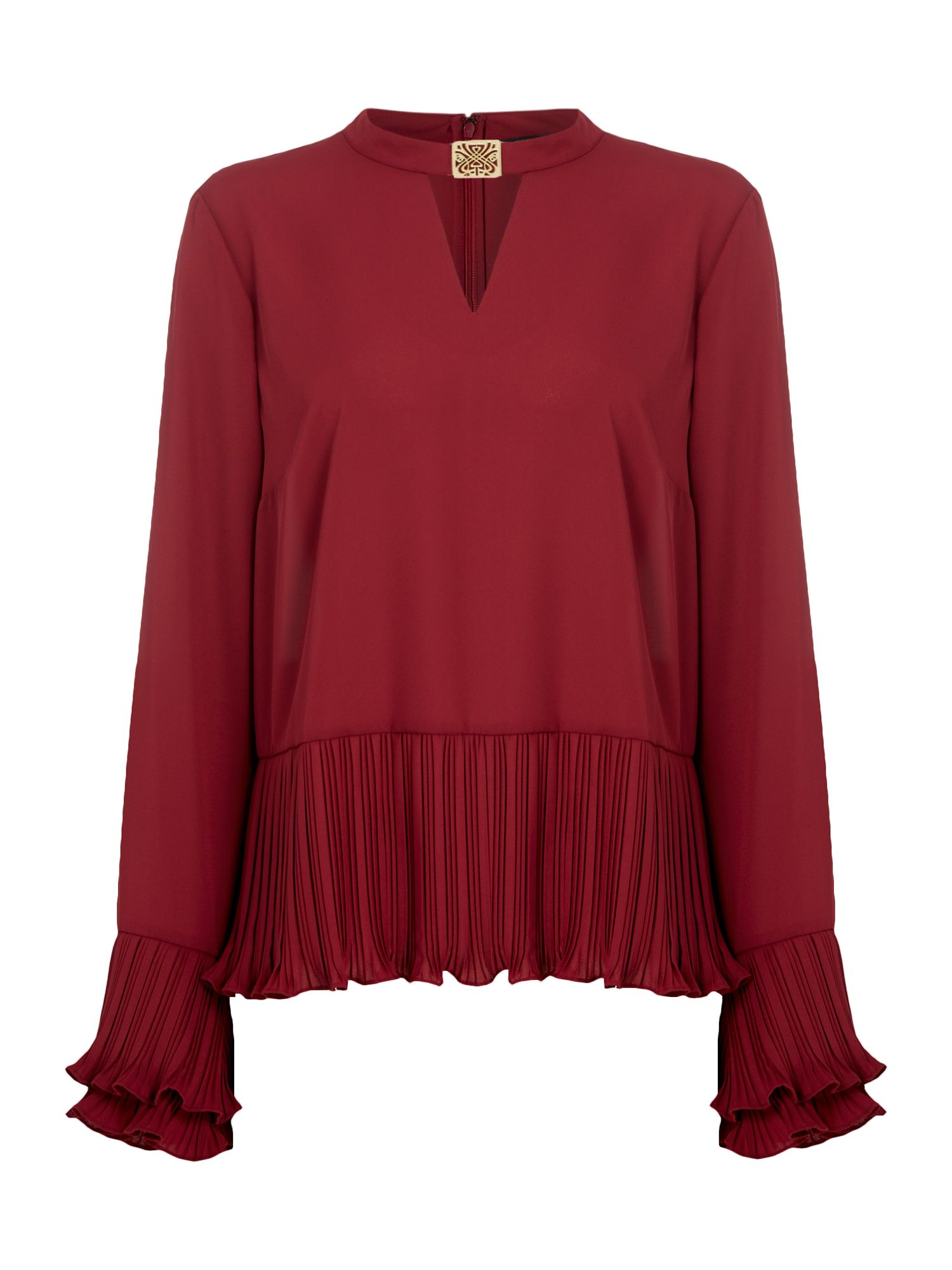 Biba Pleat detail hardware blouse, Berry