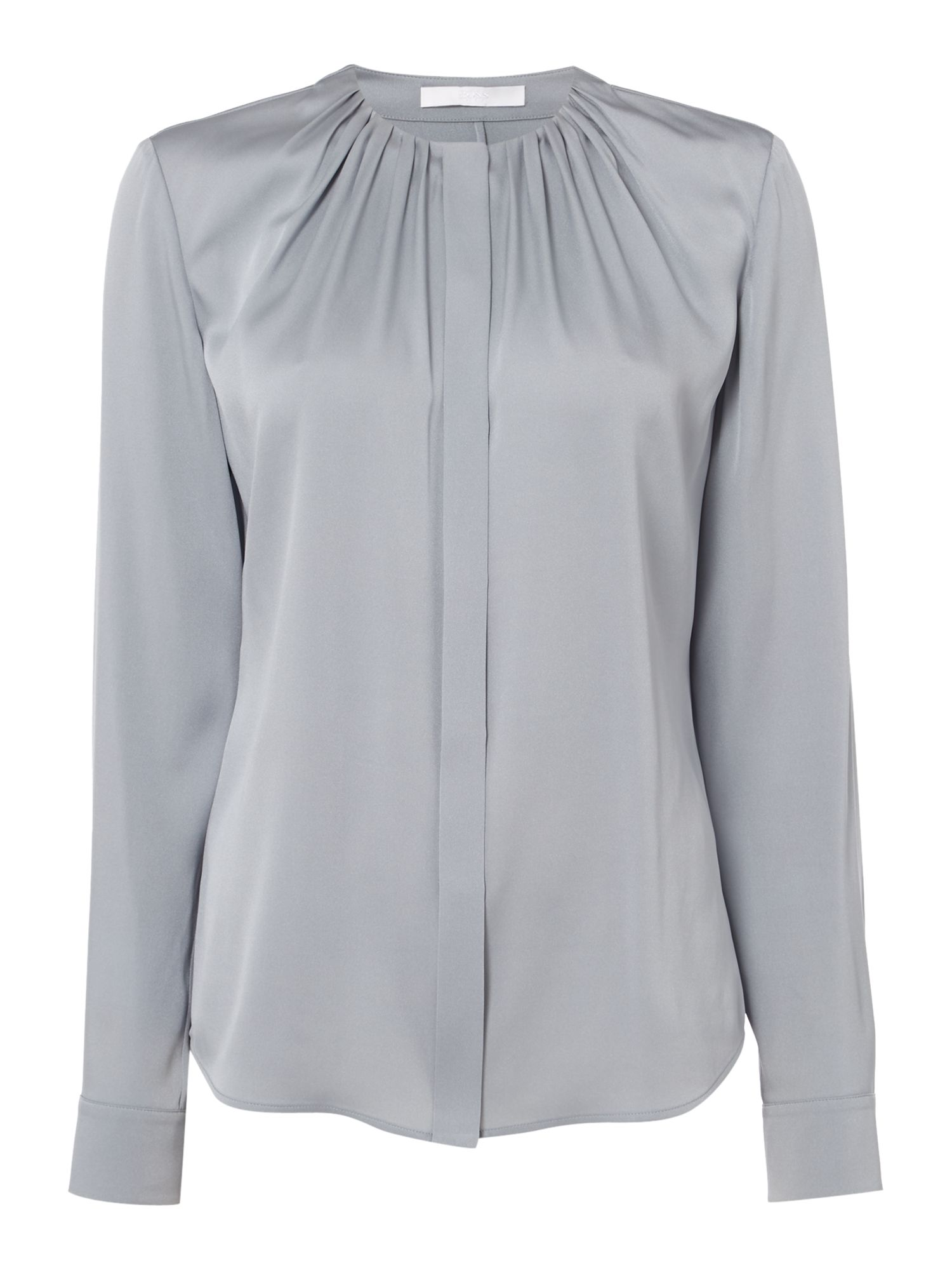 Hugo Boss Bandora Rouched Neck Silk Blouse, Light Blue