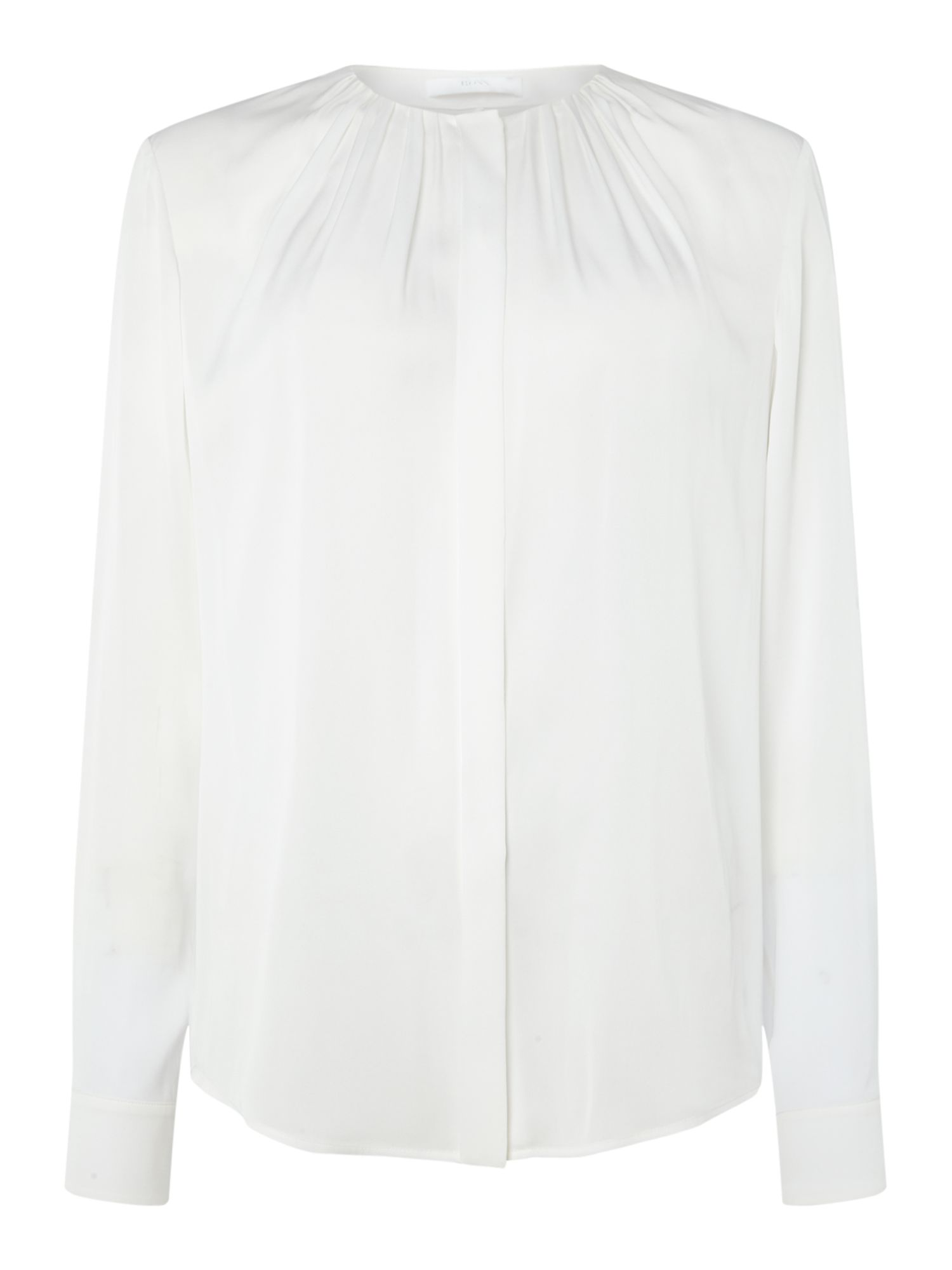 Hugo Boss Bandora Rouched Neck Silk Blouse, White