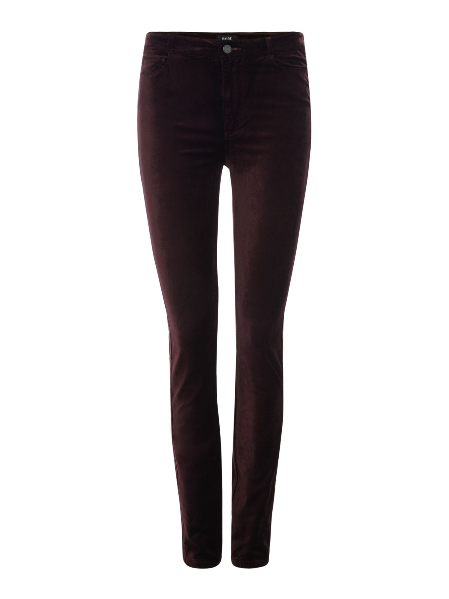 Hoxton Skinny Velvet Jeans In Black Cherry, Purple