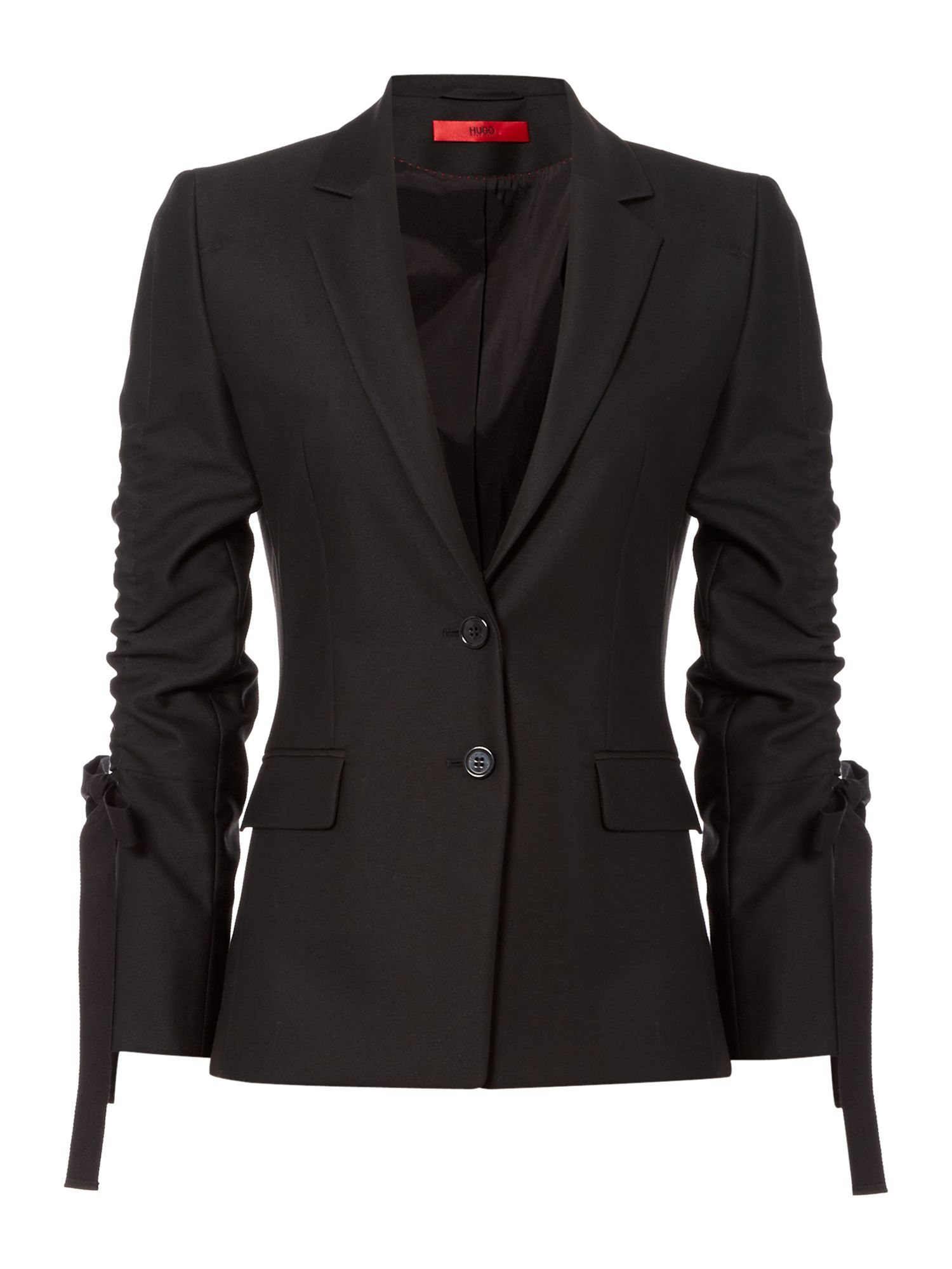 Hugo Amilli blazer with ruched sleeves, Black