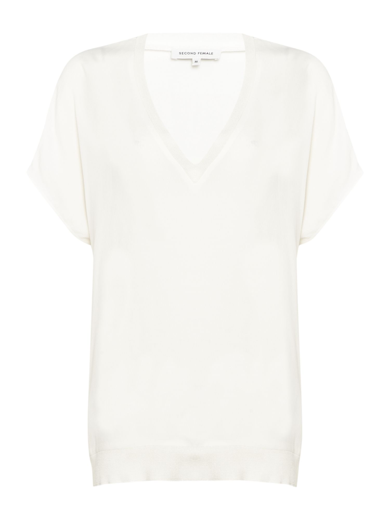 Second Female Issy V Neck Top In Off White, Off White