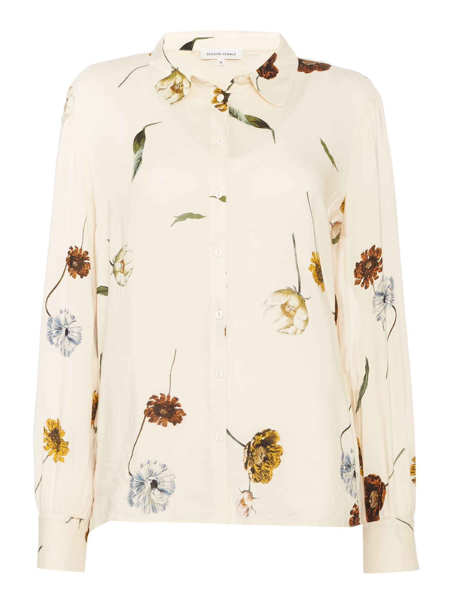 Second Female Katy Floral Print Shirt, Off White