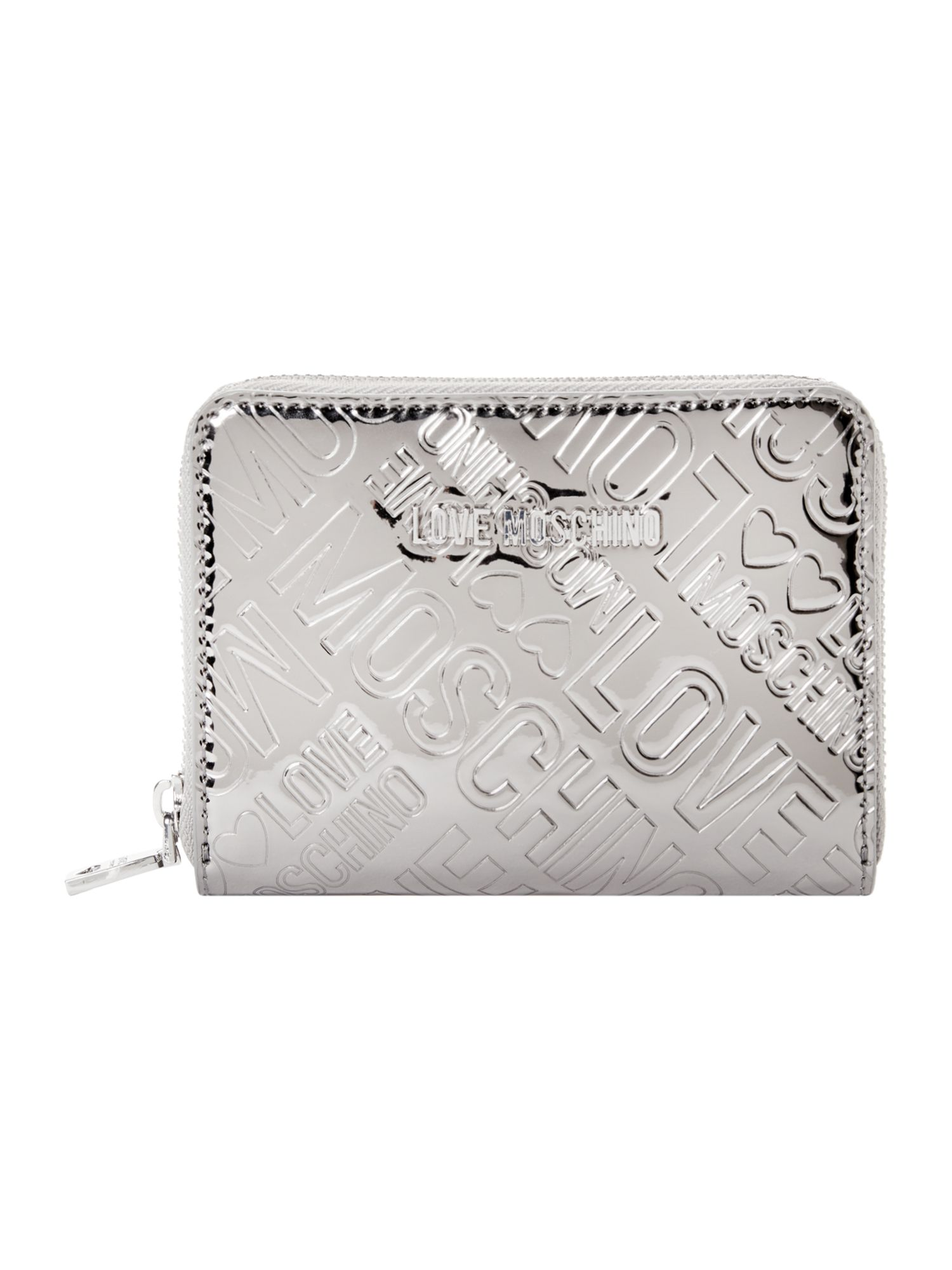 Love Moschino Love stitch patent small zip around purse, Silver