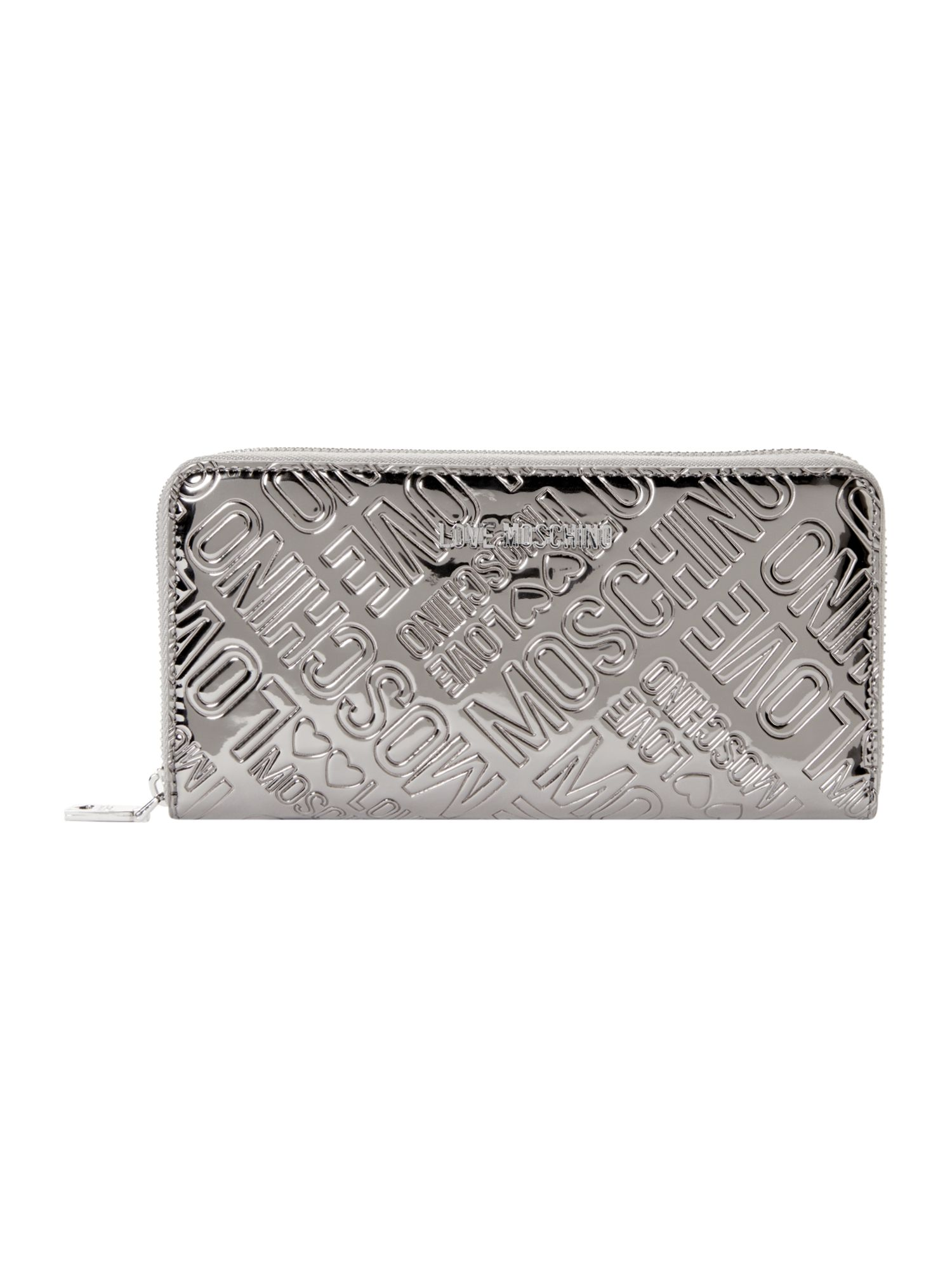 Love Moschino Love stitch patent zip around purse, Silver