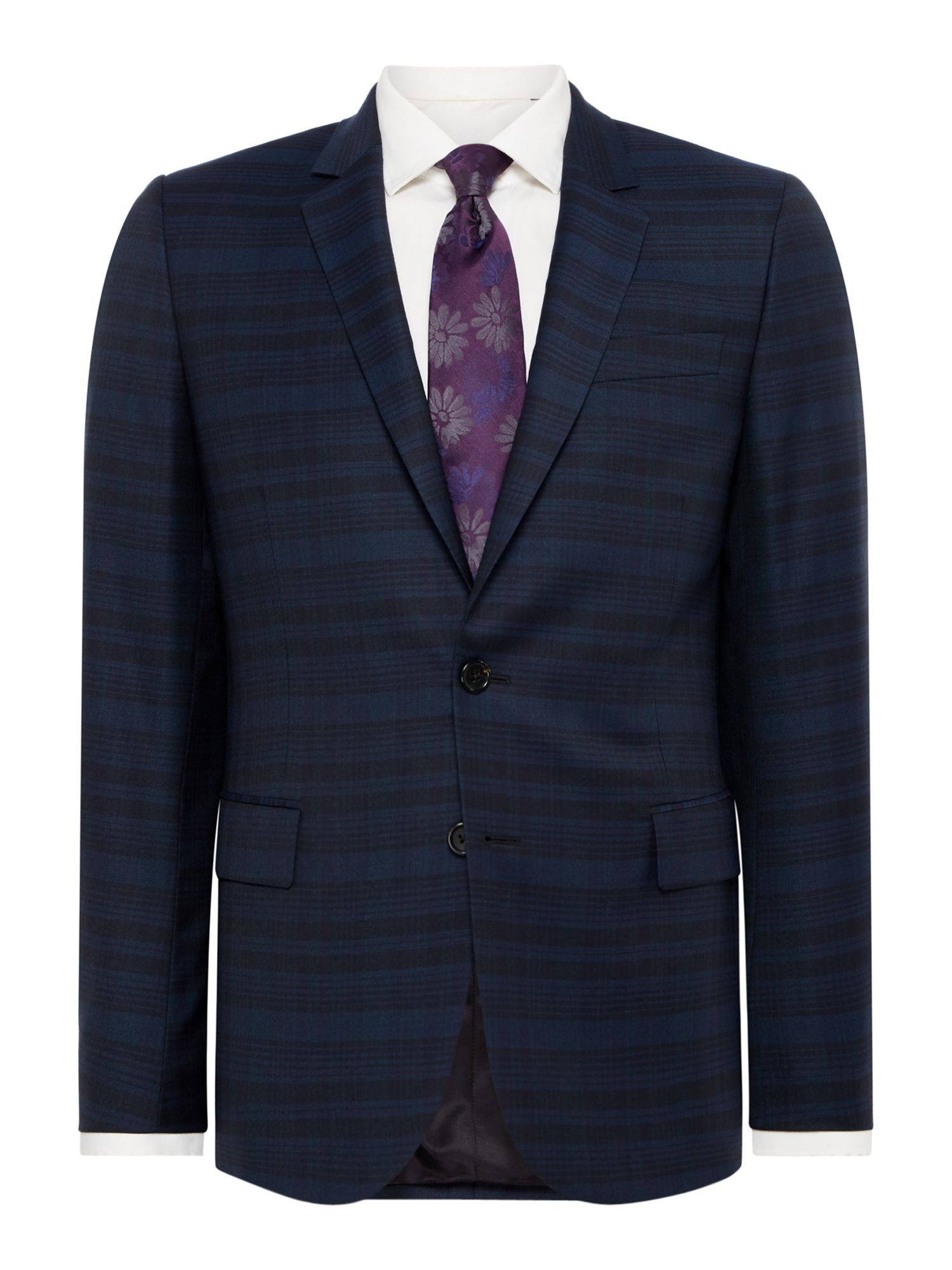 Click to view product details and reviews for Mens Ps By Paul Smith Wool Subtle Shadow Check Slim Fit Suit Blue.