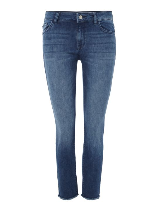 DL1961 Florence Cropped Raw Hem Jeans in Stranded £195