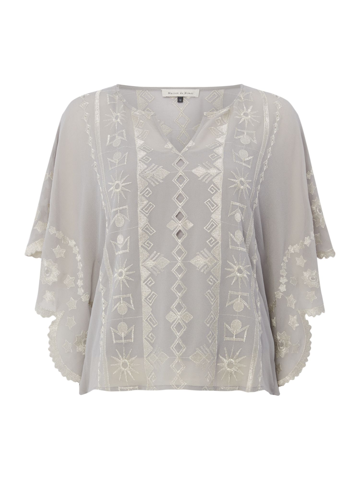 Maison De Nimes Embroidered Lurex Blouse, Grey