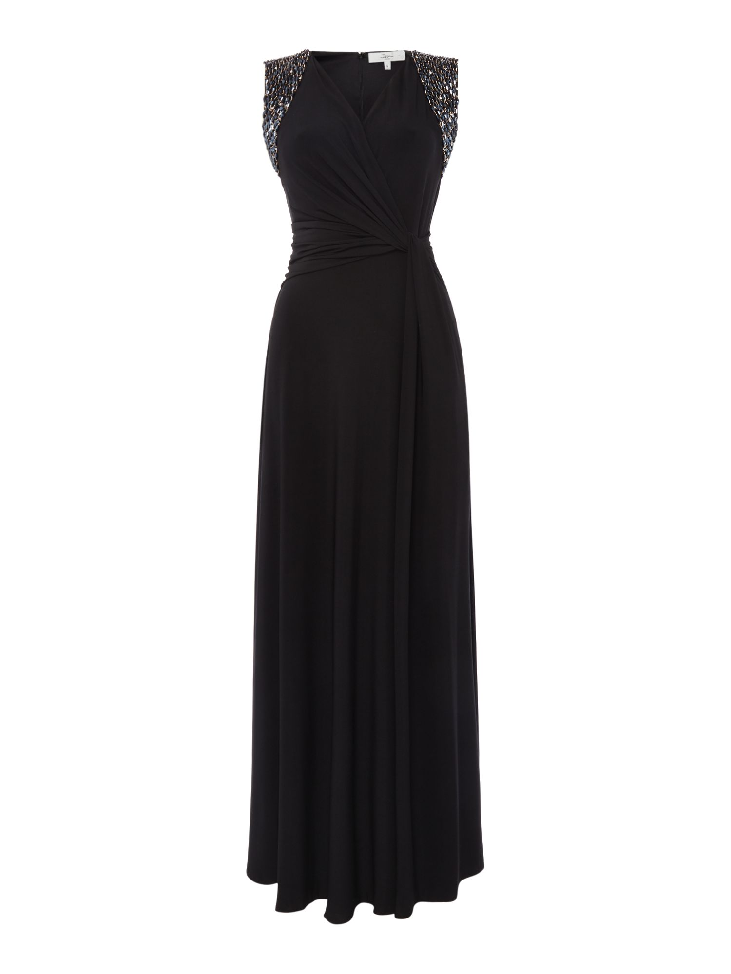 ISSA Audrey Embellished Sleeveless Maxi Dress, Black