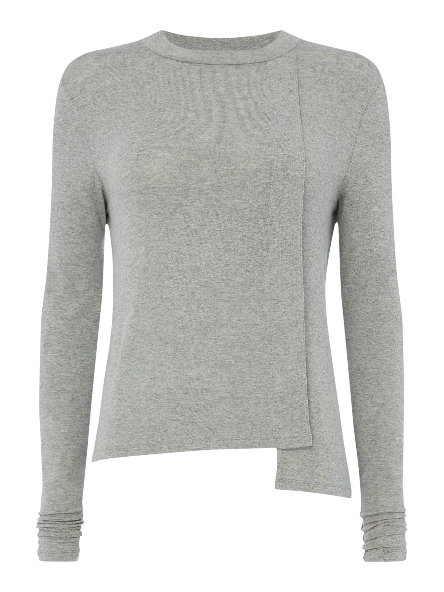 Maison De Nimes Cut and sew stepped hem long sleeve top, Grey Marl