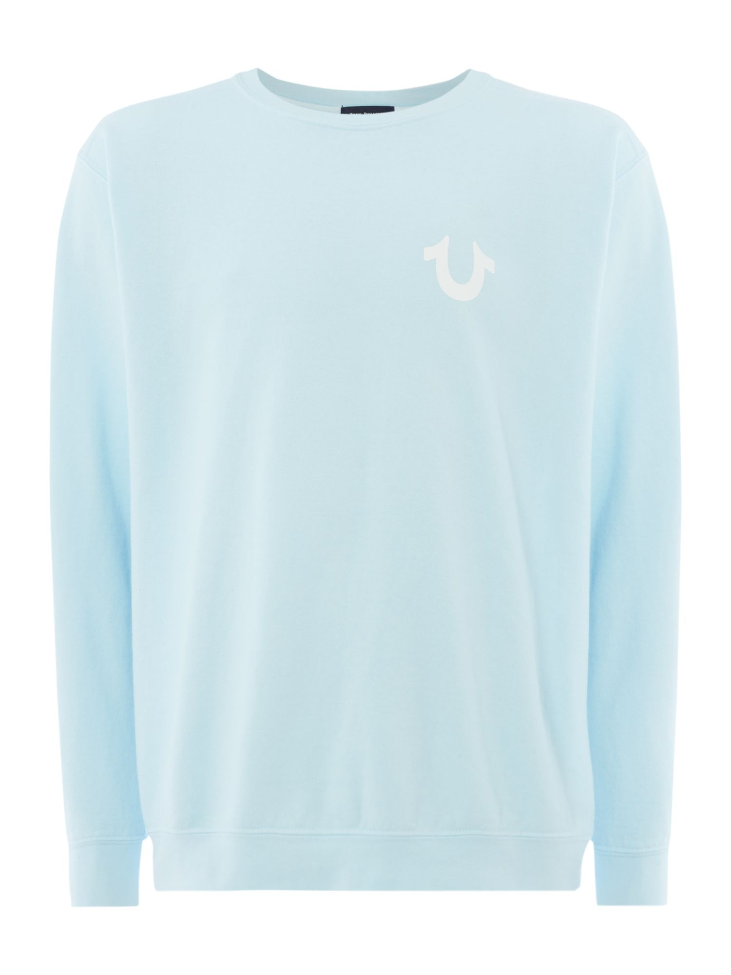 Men's True Religion Logo crew neck sweatshirt, Light Blue