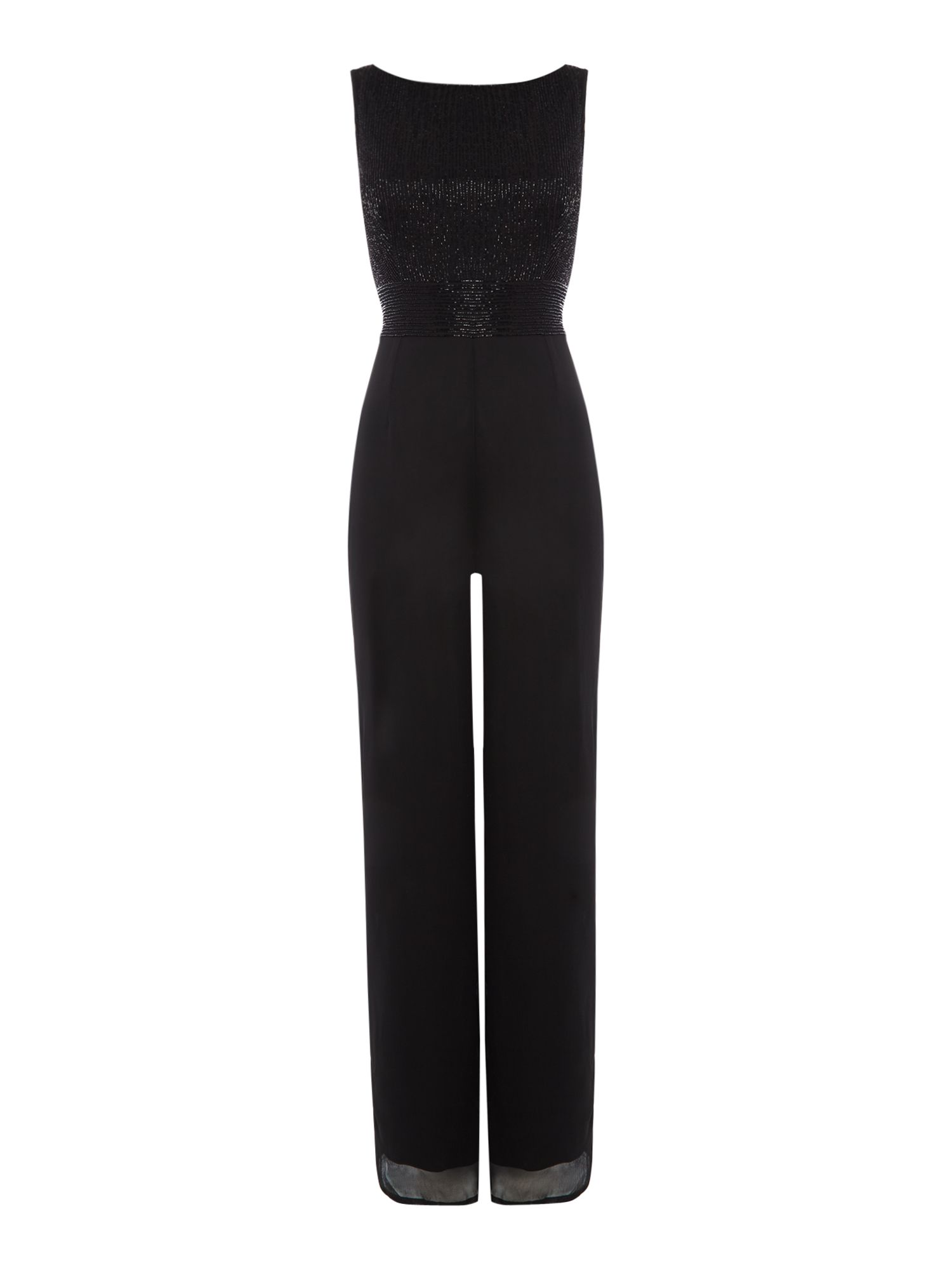 Adrianna Papell Sleeveless wide leg jumpsuit, Black